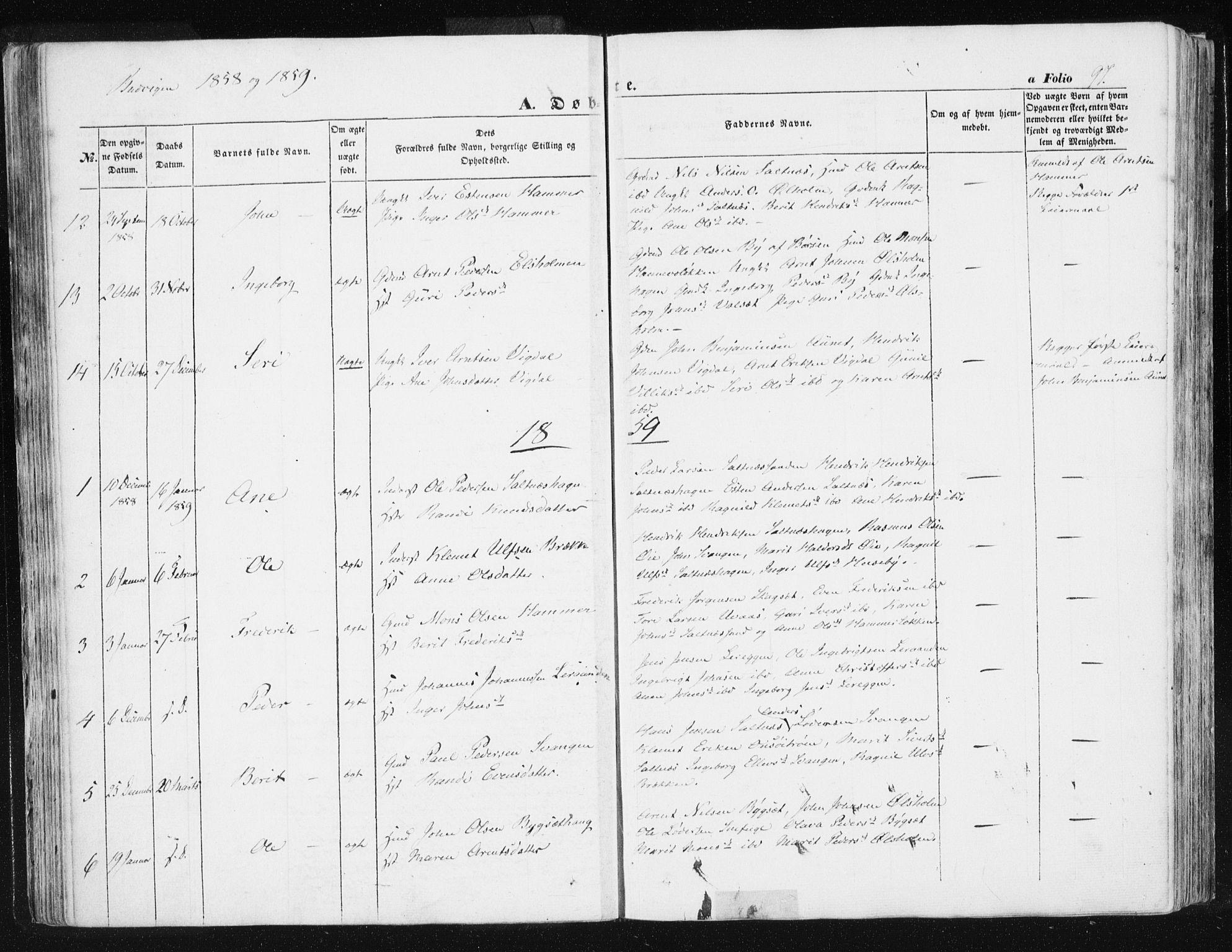SAT, Ministerialprotokoller, klokkerbøker og fødselsregistre - Sør-Trøndelag, 612/L0376: Ministerialbok nr. 612A08, 1846-1859, s. 97