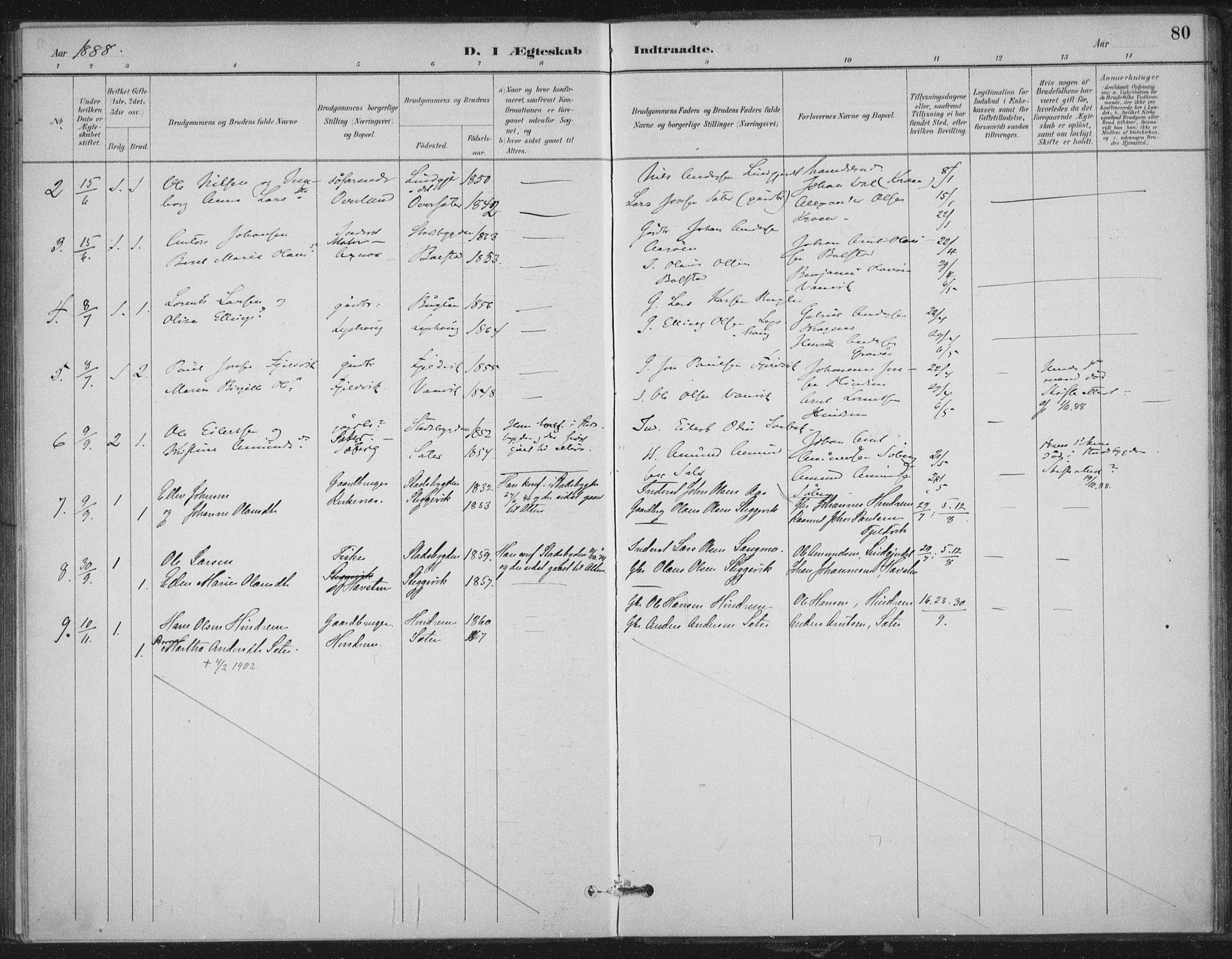 SAT, Ministerialprotokoller, klokkerbøker og fødselsregistre - Nord-Trøndelag, 702/L0023: Ministerialbok nr. 702A01, 1883-1897, s. 80