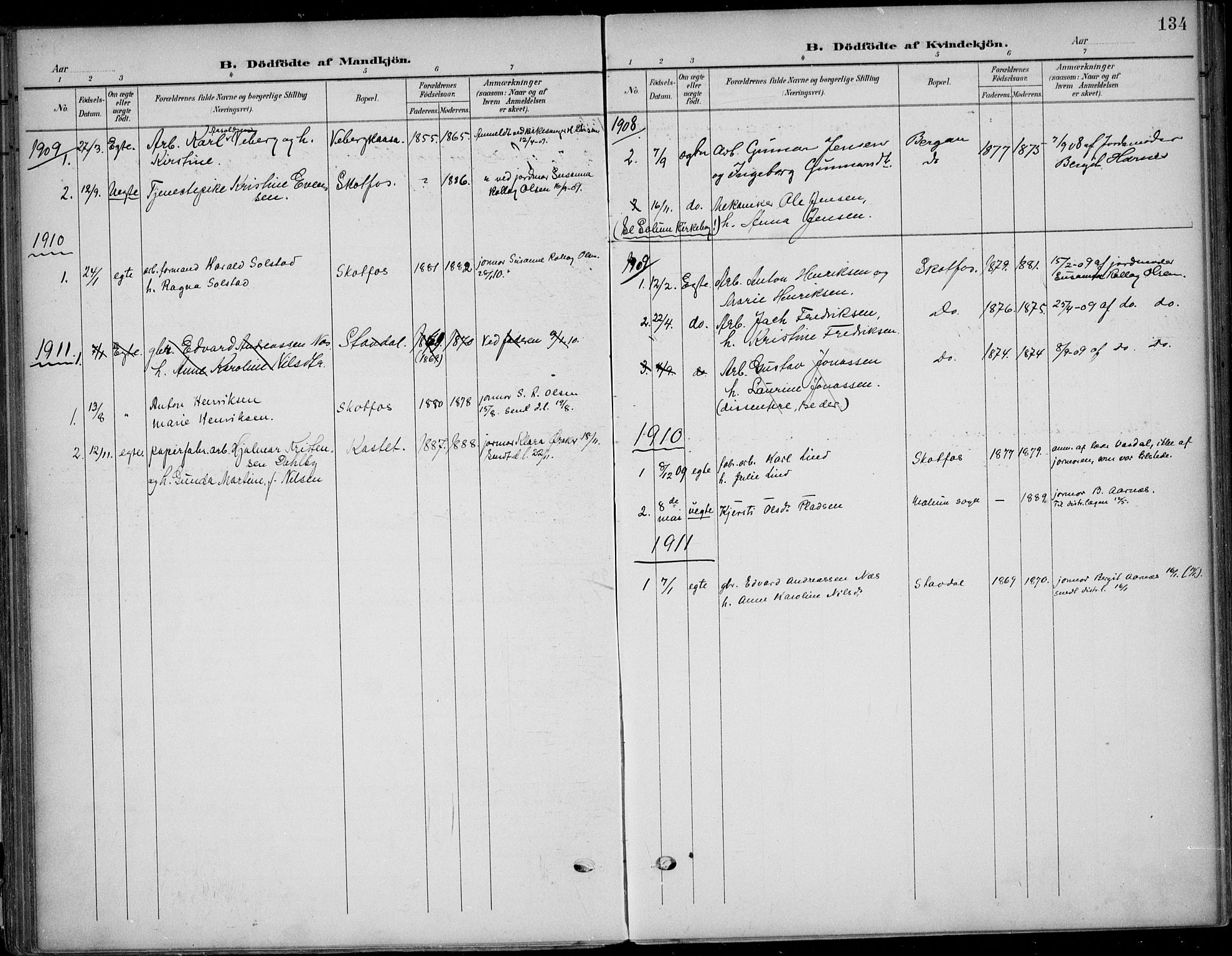 SAKO, Solum kirkebøker, F/Fb/L0003: Ministerialbok nr. II 3, 1901-1912, s. 134