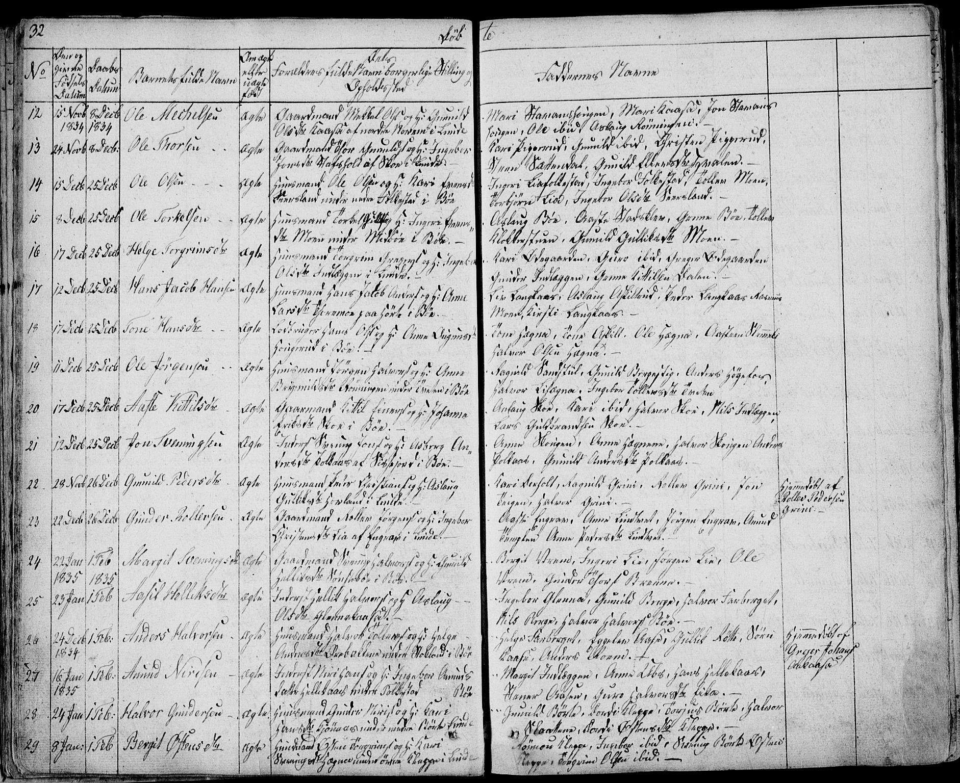 SAKO, Bø kirkebøker, F/Fa/L0007: Ministerialbok nr. 7, 1831-1848, s. 32