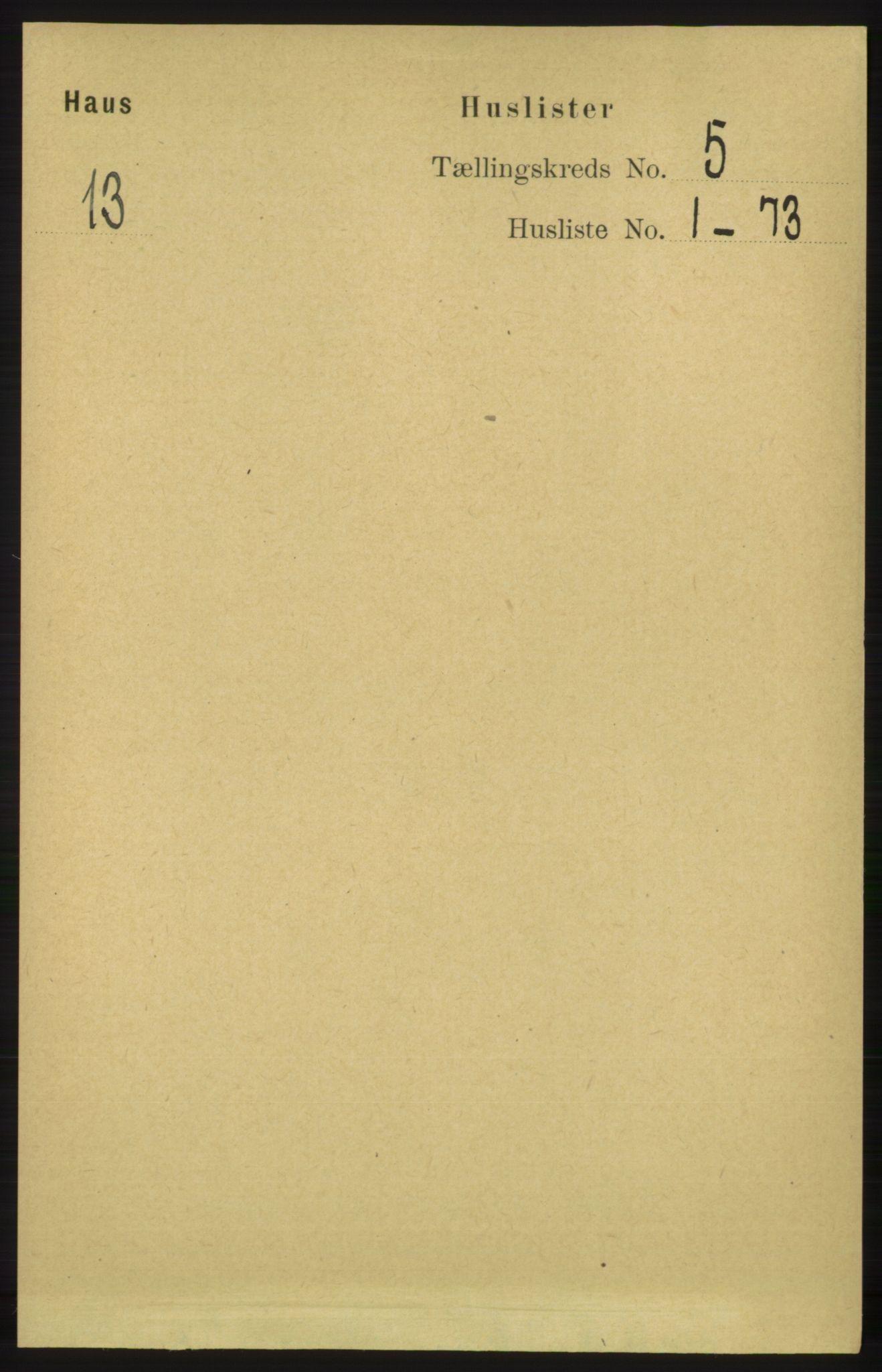 RA, Folketelling 1891 for 1250 Haus herred, 1891, s. 1747