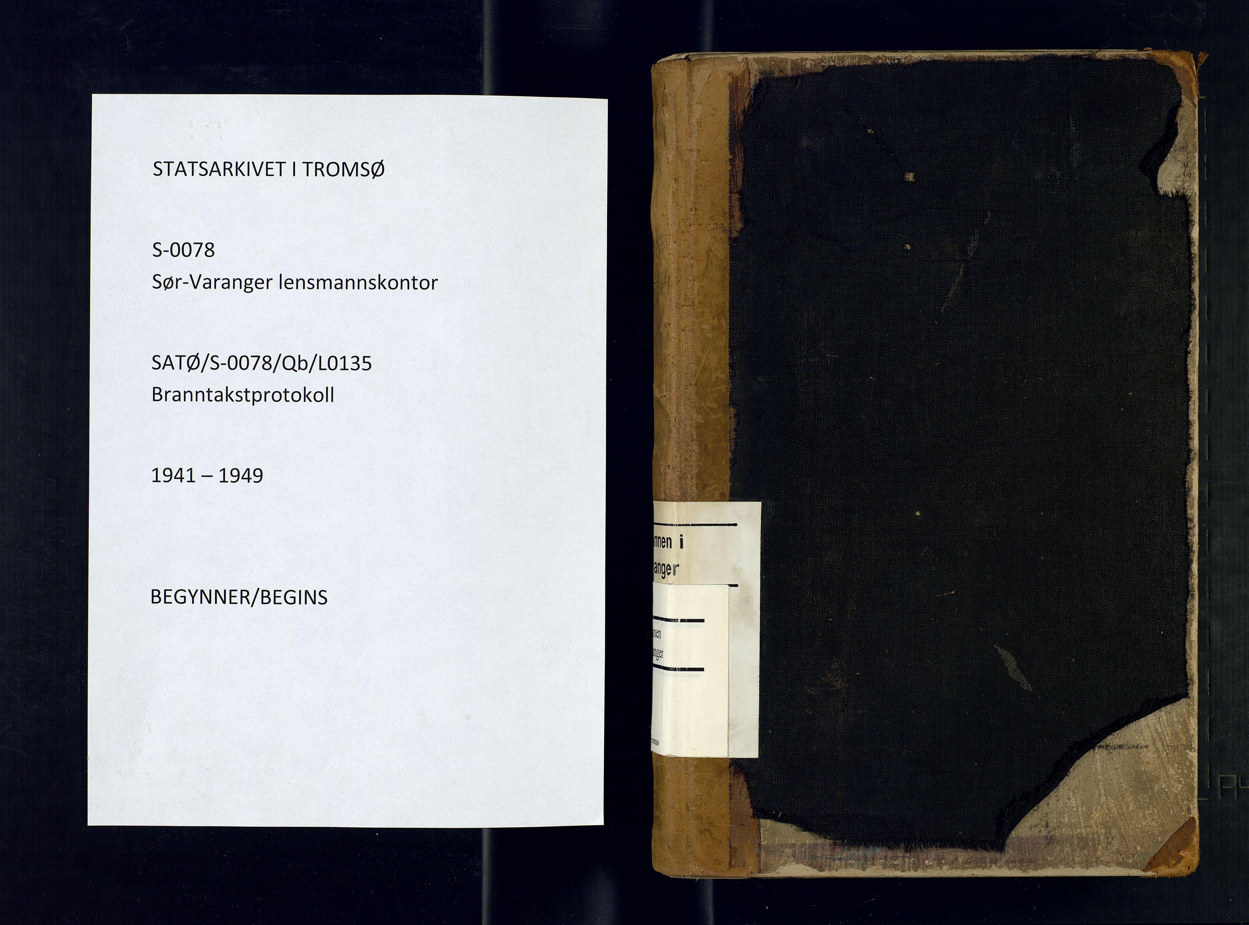 SATØ, Sør-Varanger lensmannskontor, Qb/L0135: Branntakstprotokoller Med reg., 1941-1949