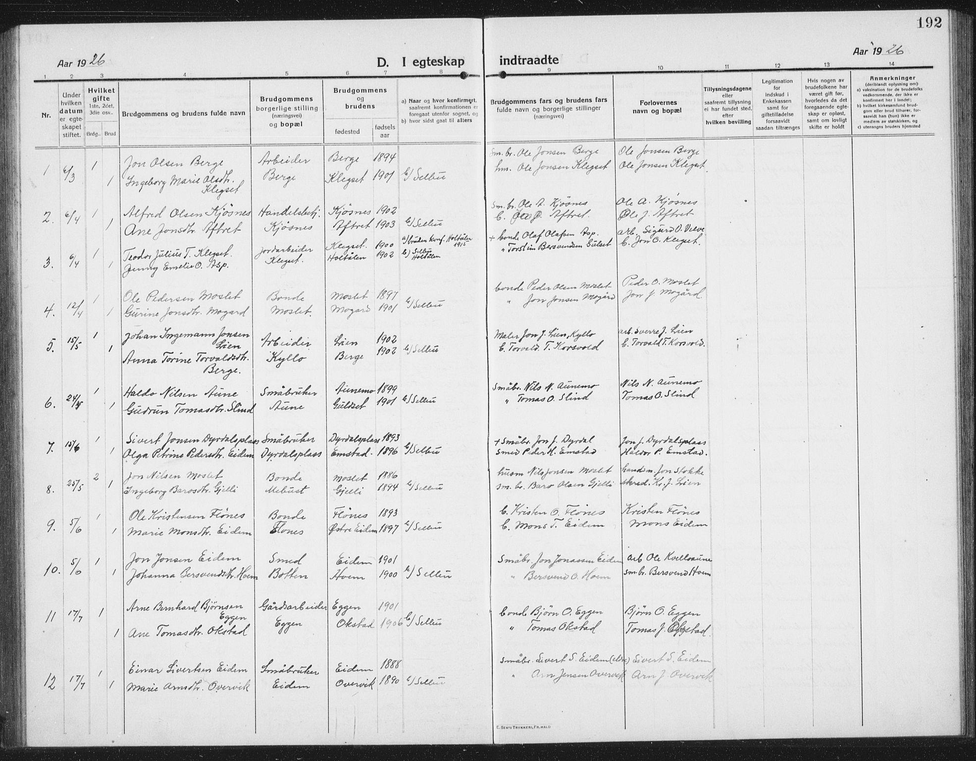SAT, Ministerialprotokoller, klokkerbøker og fødselsregistre - Sør-Trøndelag, 695/L1158: Klokkerbok nr. 695C09, 1913-1940, s. 192