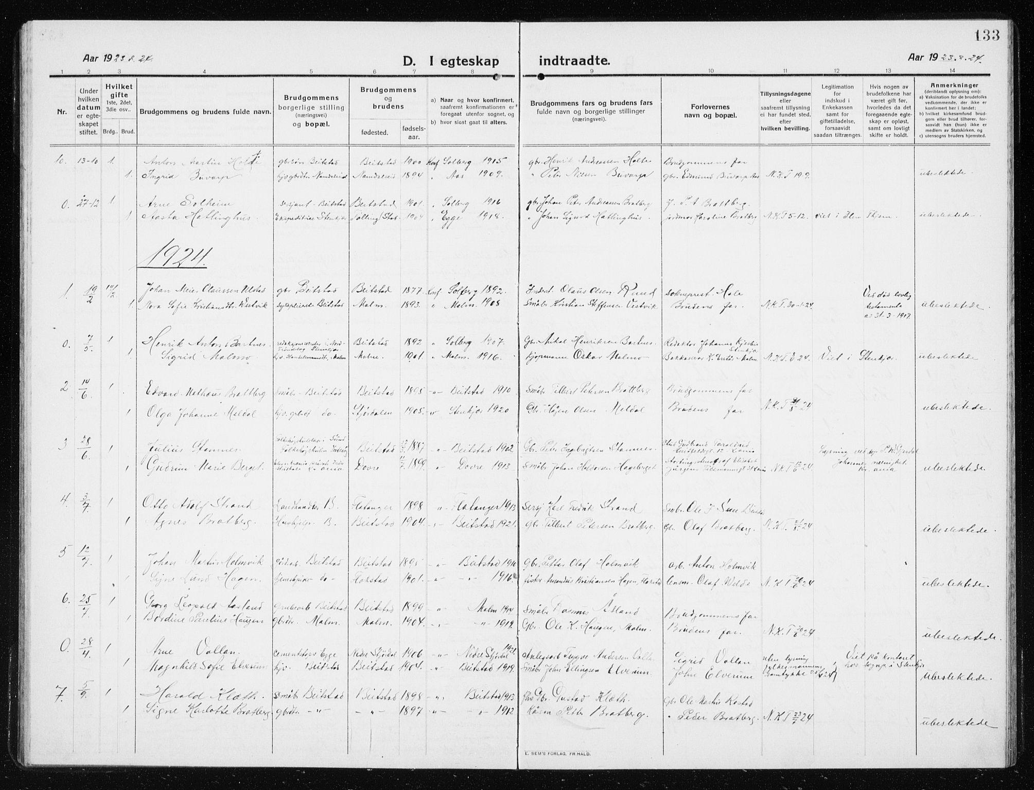 SAT, Ministerialprotokoller, klokkerbøker og fødselsregistre - Nord-Trøndelag, 741/L0402: Klokkerbok nr. 741C03, 1911-1926, s. 133