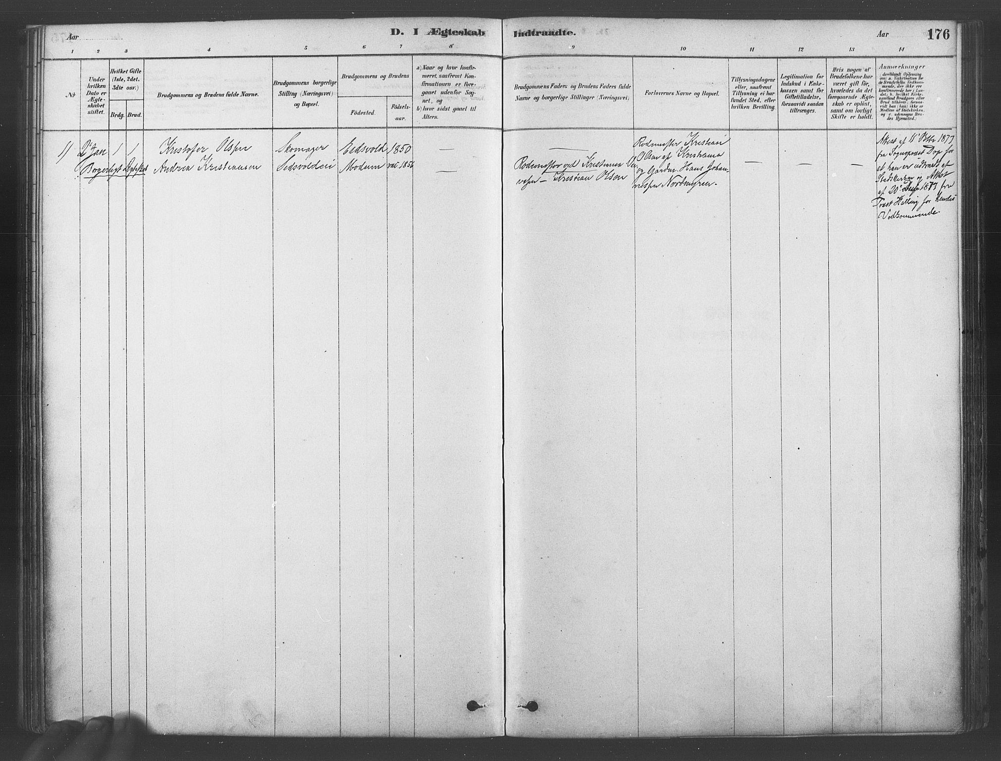 SAO, Ullensaker prestekontor Kirkebøker, F/Fb/L0001: Ministerialbok nr. II 1, 1878-1893, s. 176