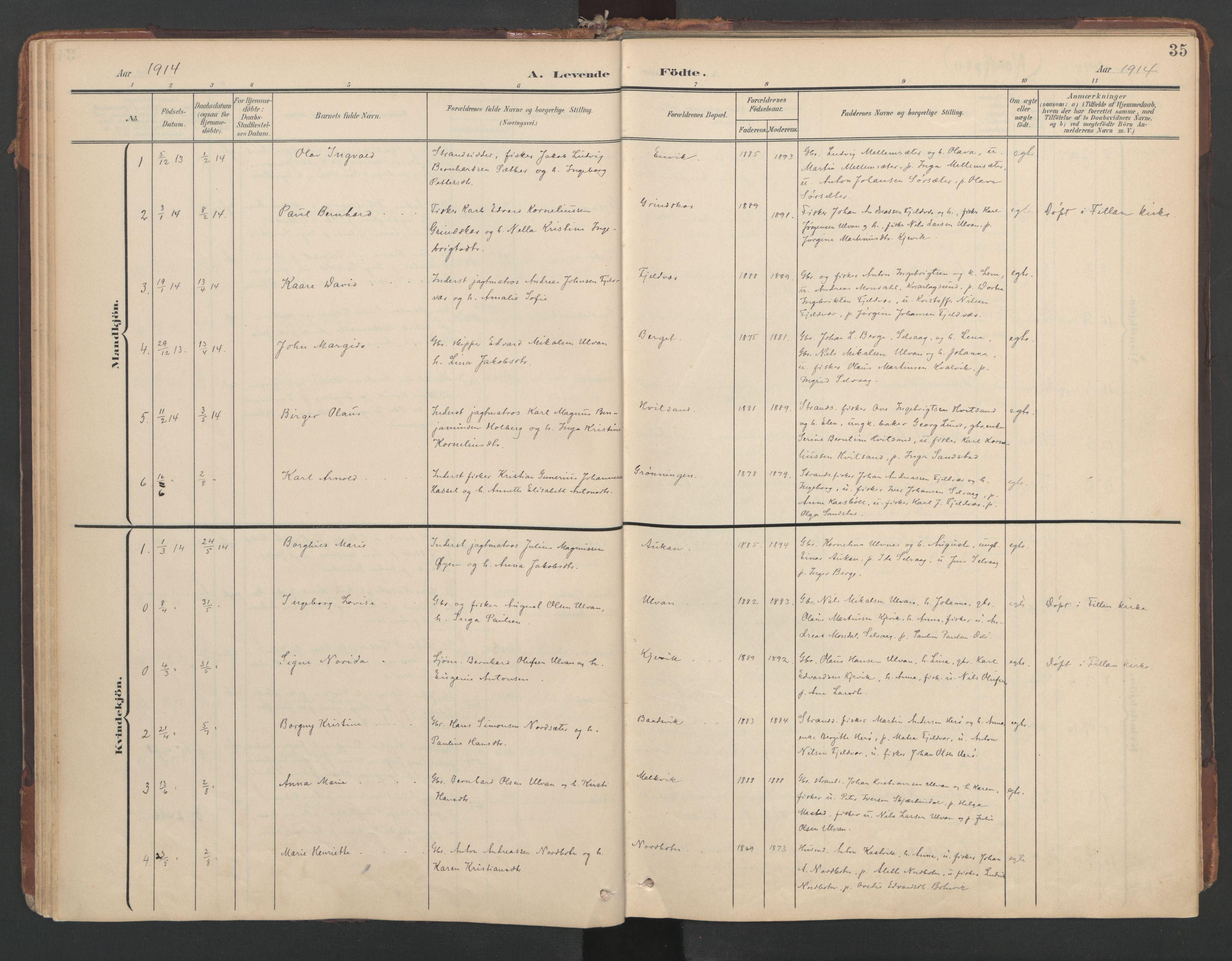 SAT, Ministerialprotokoller, klokkerbøker og fødselsregistre - Sør-Trøndelag, 638/L0568: Ministerialbok nr. 638A01, 1901-1916, s. 35