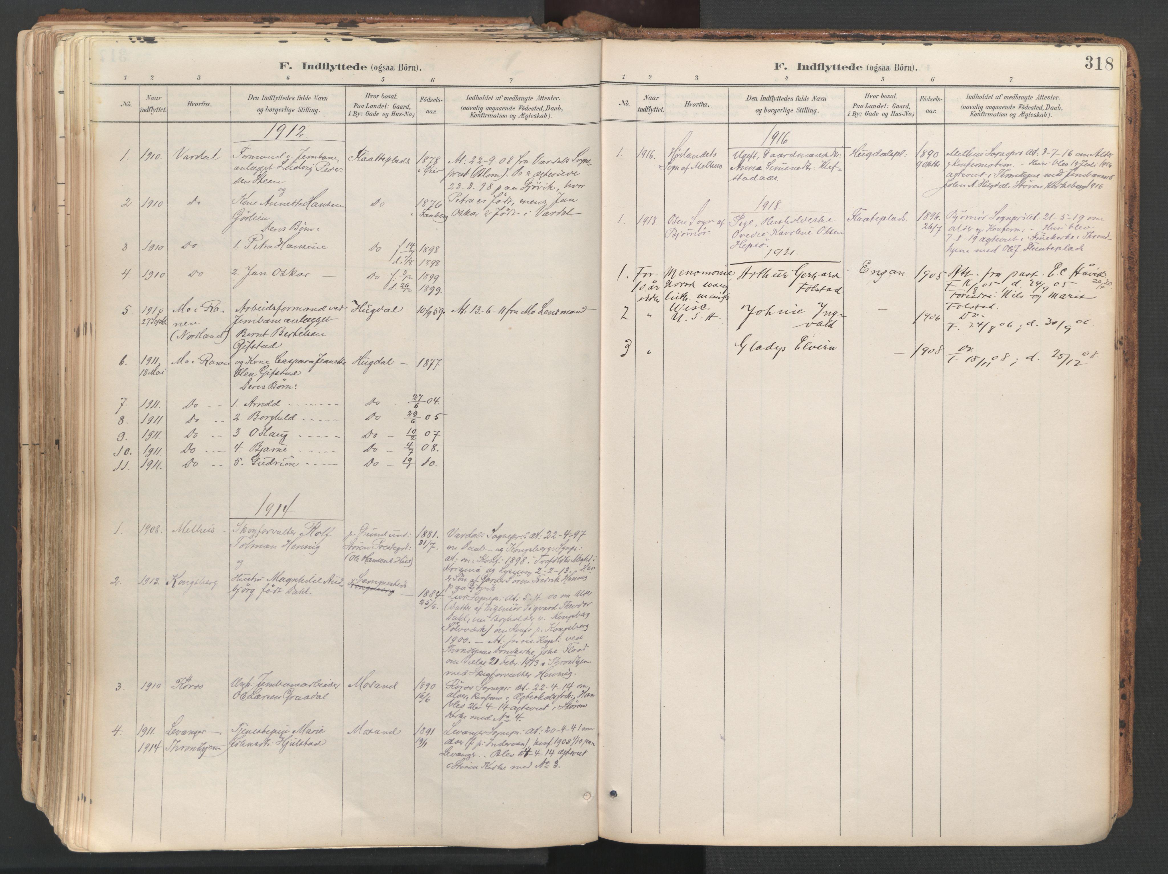 SAT, Ministerialprotokoller, klokkerbøker og fødselsregistre - Sør-Trøndelag, 687/L1004: Ministerialbok nr. 687A10, 1891-1923, s. 318