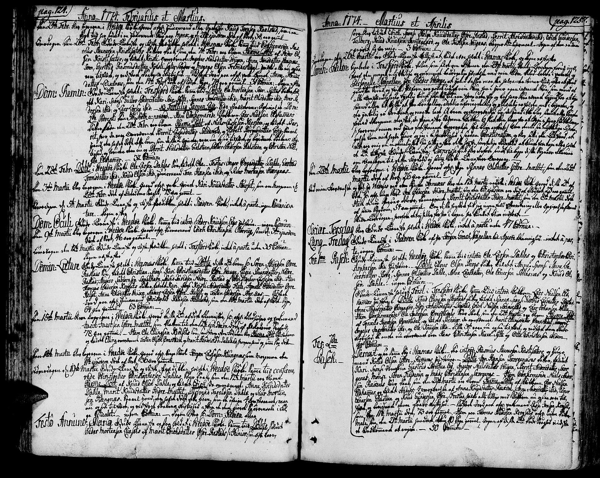 SAT, Ministerialprotokoller, klokkerbøker og fødselsregistre - Møre og Romsdal, 547/L0600: Ministerialbok nr. 547A02, 1765-1799, s. 124-125