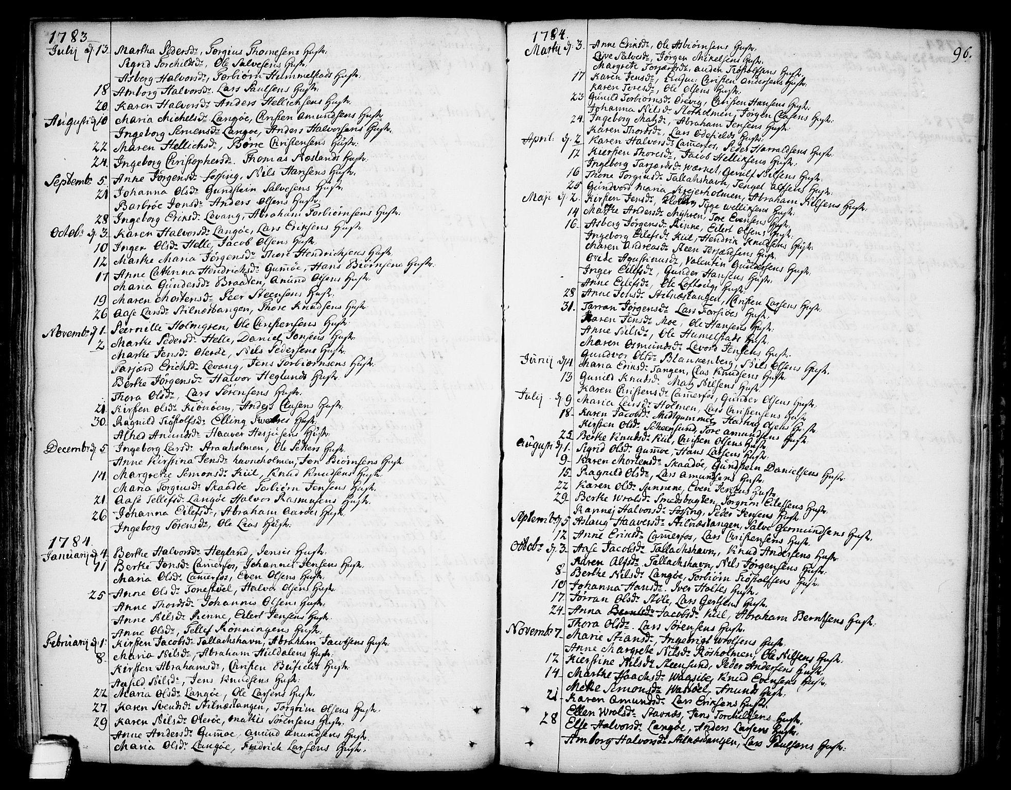 SAKO, Sannidal kirkebøker, F/Fa/L0002: Ministerialbok nr. 2, 1767-1802, s. 96