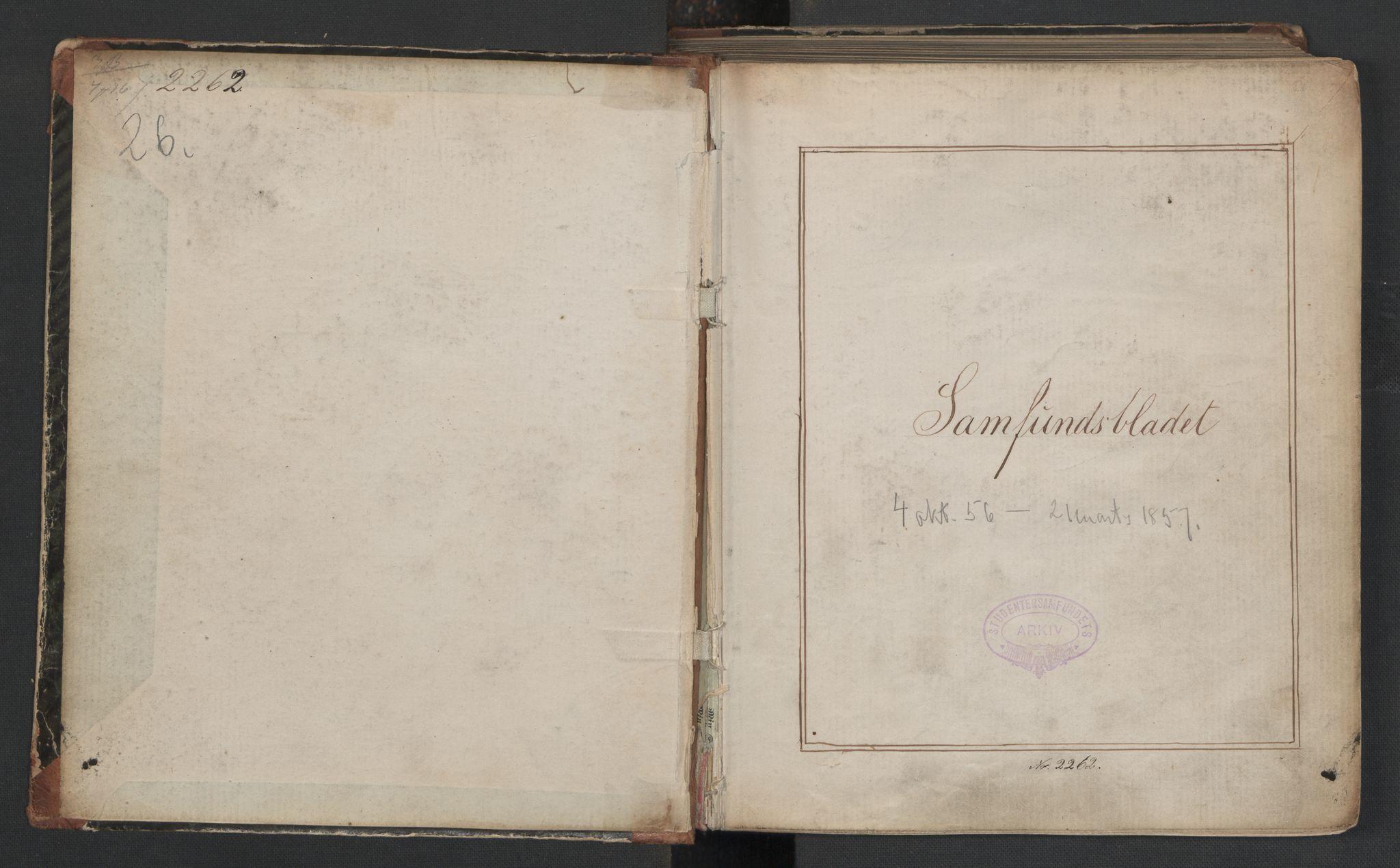 RA, Det Norske Studentersamfund, X/Xa/L0006, 1856-1857, s. 2
