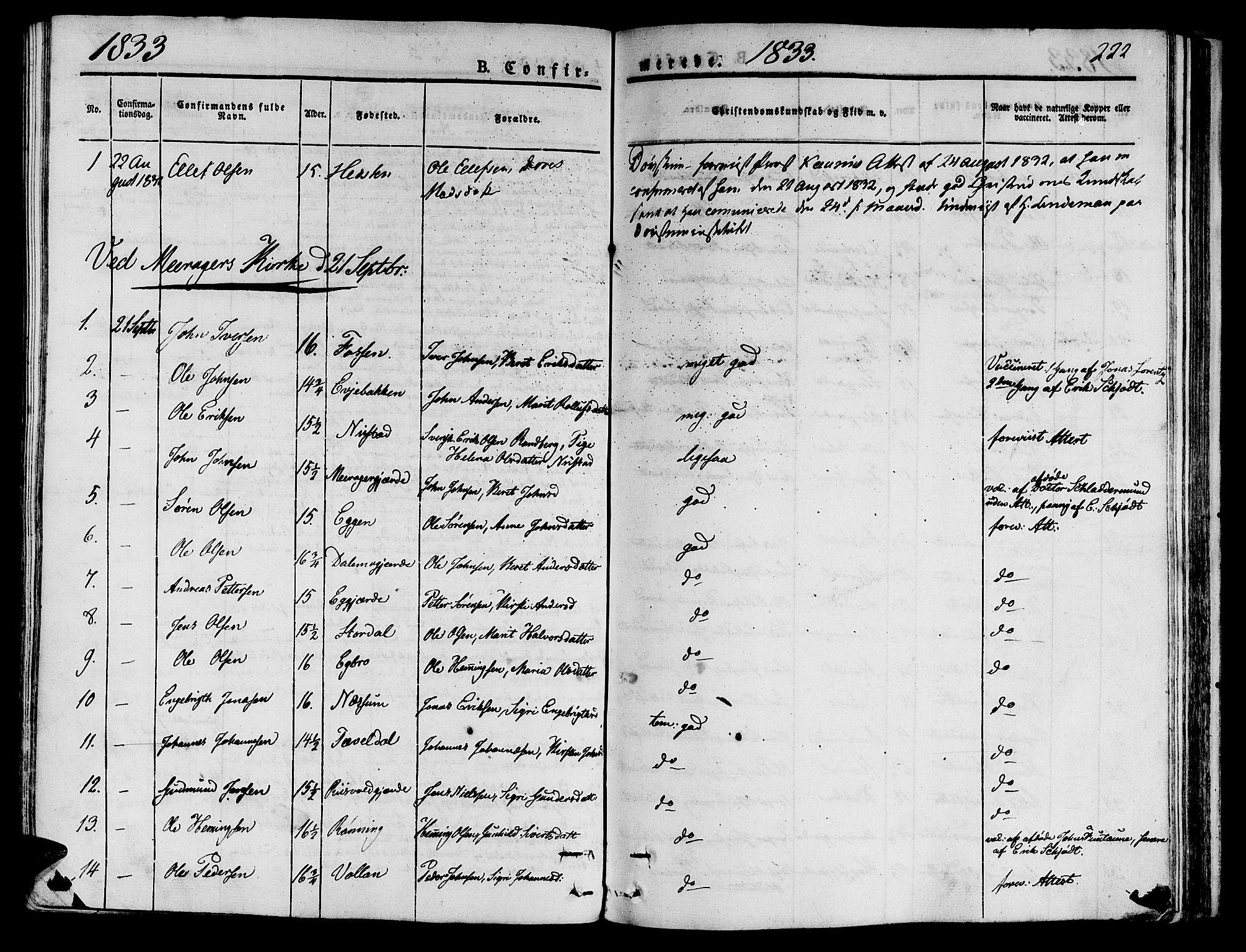 SAT, Ministerialprotokoller, klokkerbøker og fødselsregistre - Nord-Trøndelag, 709/L0071: Ministerialbok nr. 709A11, 1833-1844, s. 222