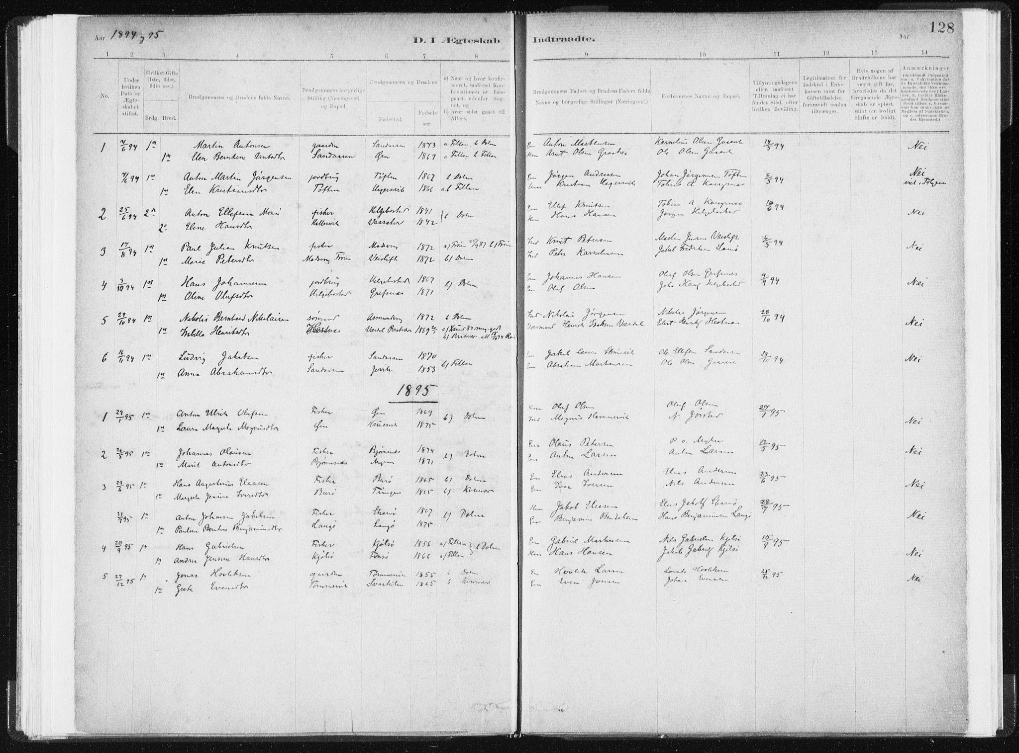 SAT, Ministerialprotokoller, klokkerbøker og fødselsregistre - Sør-Trøndelag, 634/L0533: Ministerialbok nr. 634A09, 1882-1901, s. 128