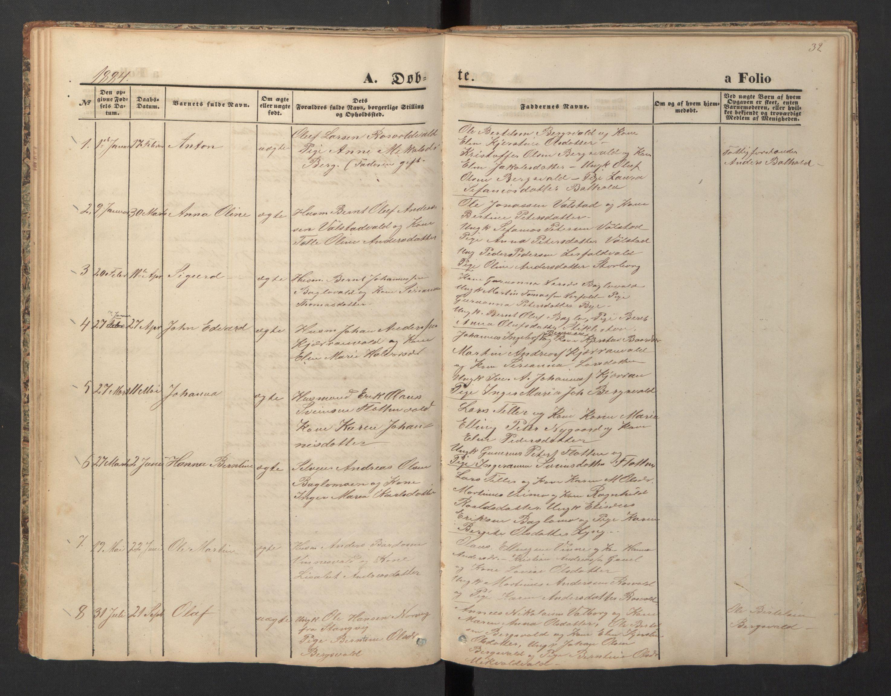 SAT, Ministerialprotokoller, klokkerbøker og fødselsregistre - Nord-Trøndelag, 726/L0271: Klokkerbok nr. 726C02, 1869-1897, s. 32