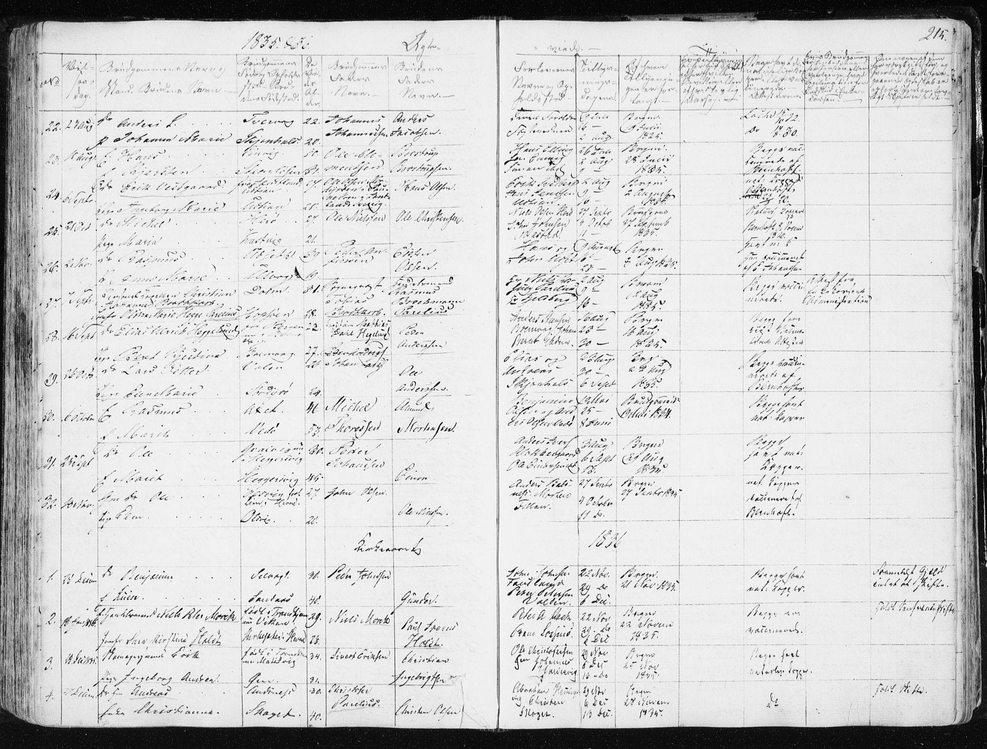 SAT, Ministerialprotokoller, klokkerbøker og fødselsregistre - Sør-Trøndelag, 634/L0528: Ministerialbok nr. 634A04, 1827-1842, s. 215