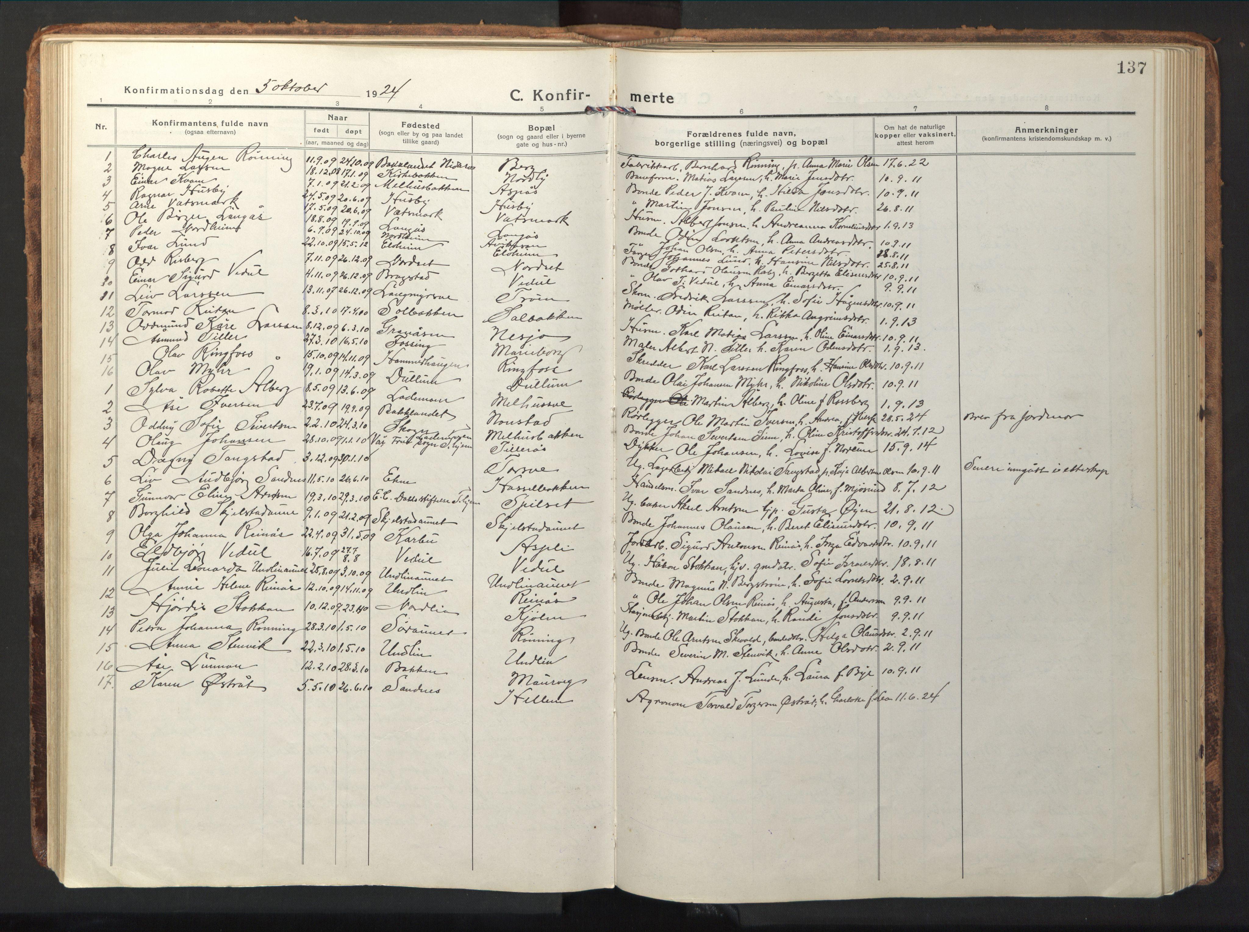 SAT, Ministerialprotokoller, klokkerbøker og fødselsregistre - Nord-Trøndelag, 714/L0136: Klokkerbok nr. 714C05, 1918-1957, s. 137