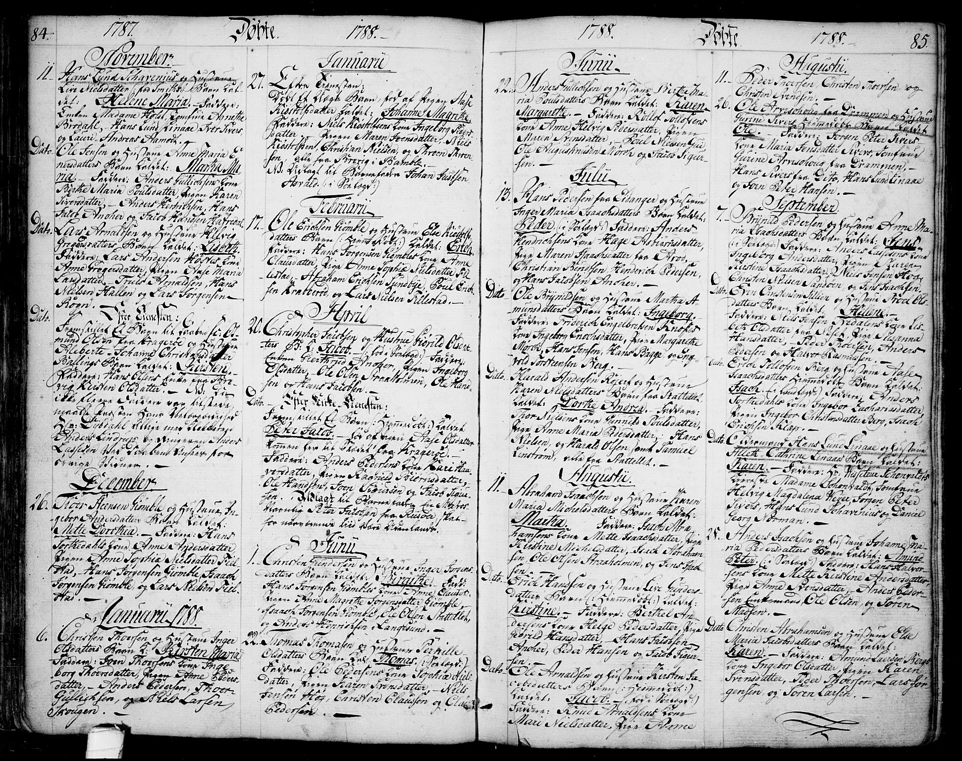 SAKO, Bamble kirkebøker, F/Fa/L0002: Ministerialbok nr. I 2, 1775-1814, s. 84-85