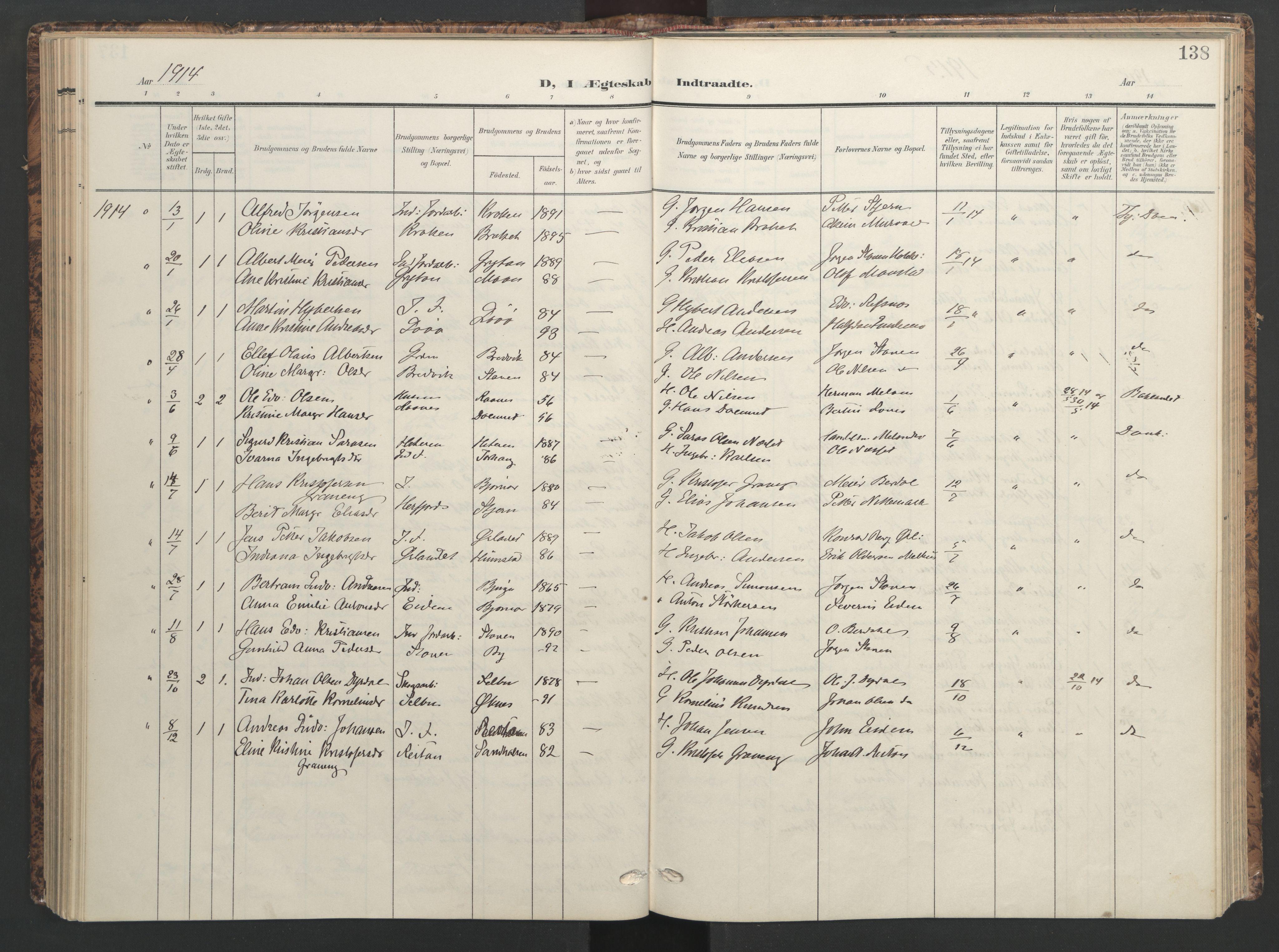 SAT, Ministerialprotokoller, klokkerbøker og fødselsregistre - Sør-Trøndelag, 655/L0682: Ministerialbok nr. 655A11, 1908-1922, s. 138