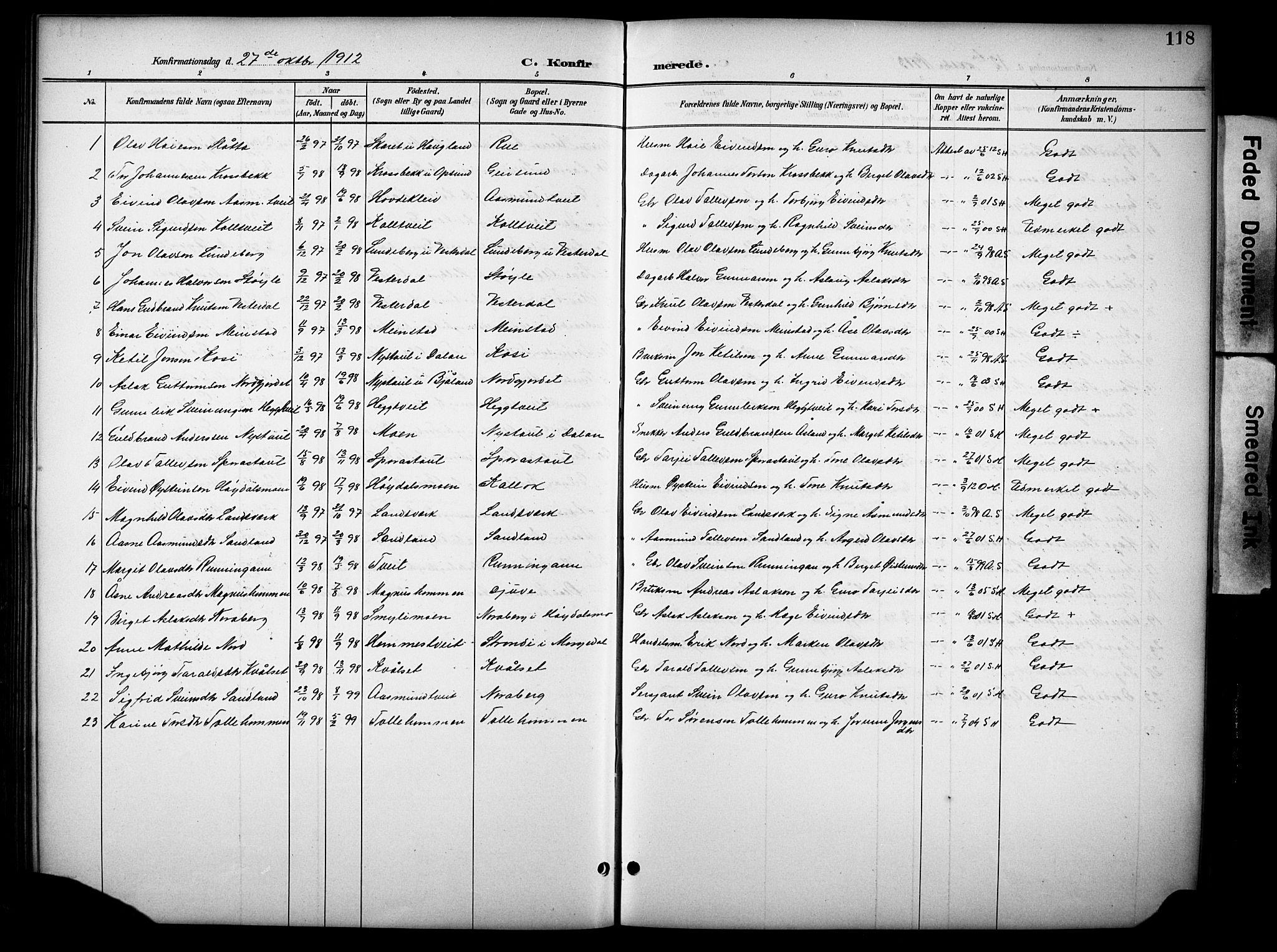 SAKO, Kviteseid kirkebøker, G/Gb/L0003: Klokkerbok nr. II 3, 1893-1933, s. 118