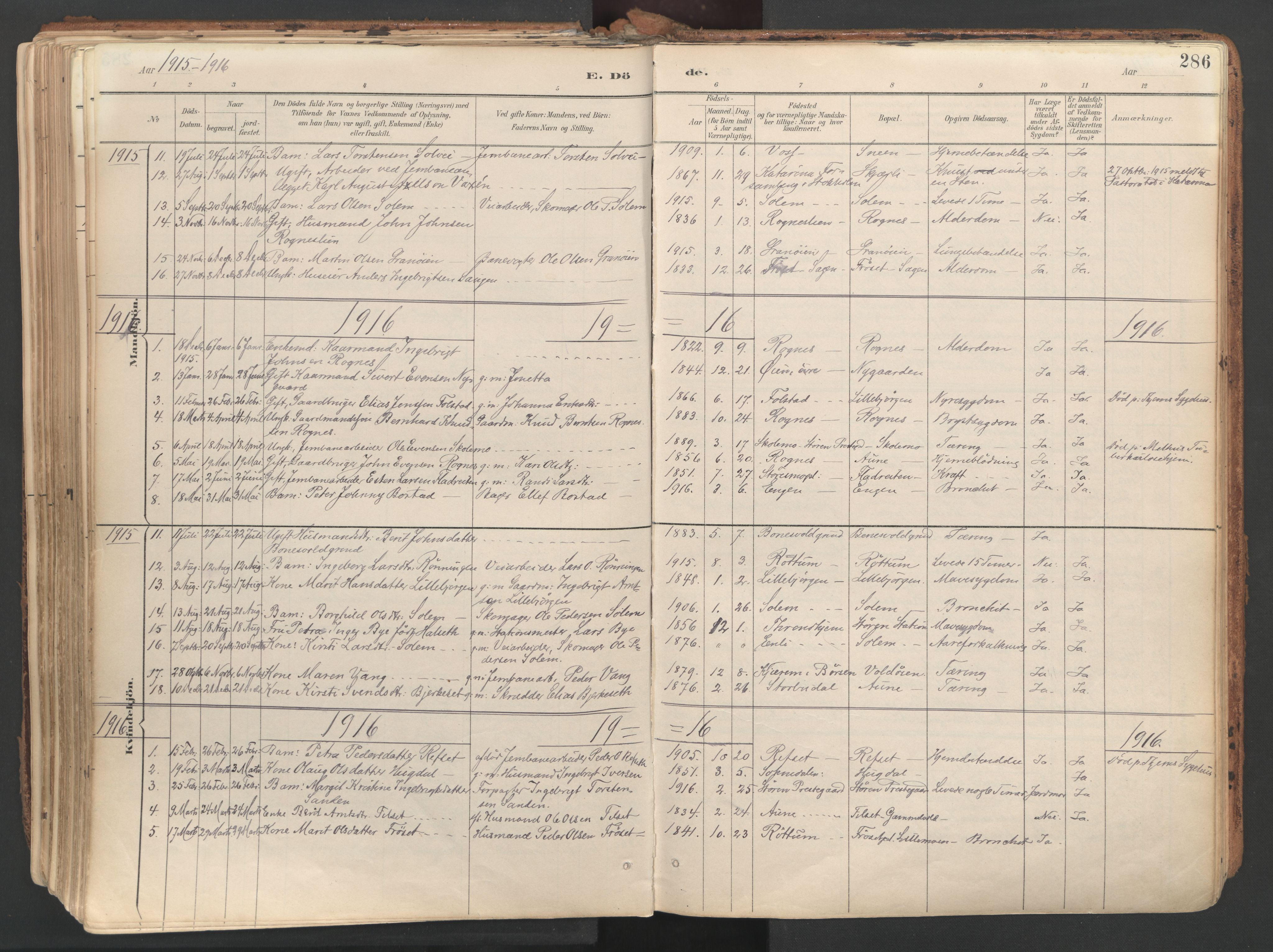 SAT, Ministerialprotokoller, klokkerbøker og fødselsregistre - Sør-Trøndelag, 687/L1004: Ministerialbok nr. 687A10, 1891-1923, s. 286