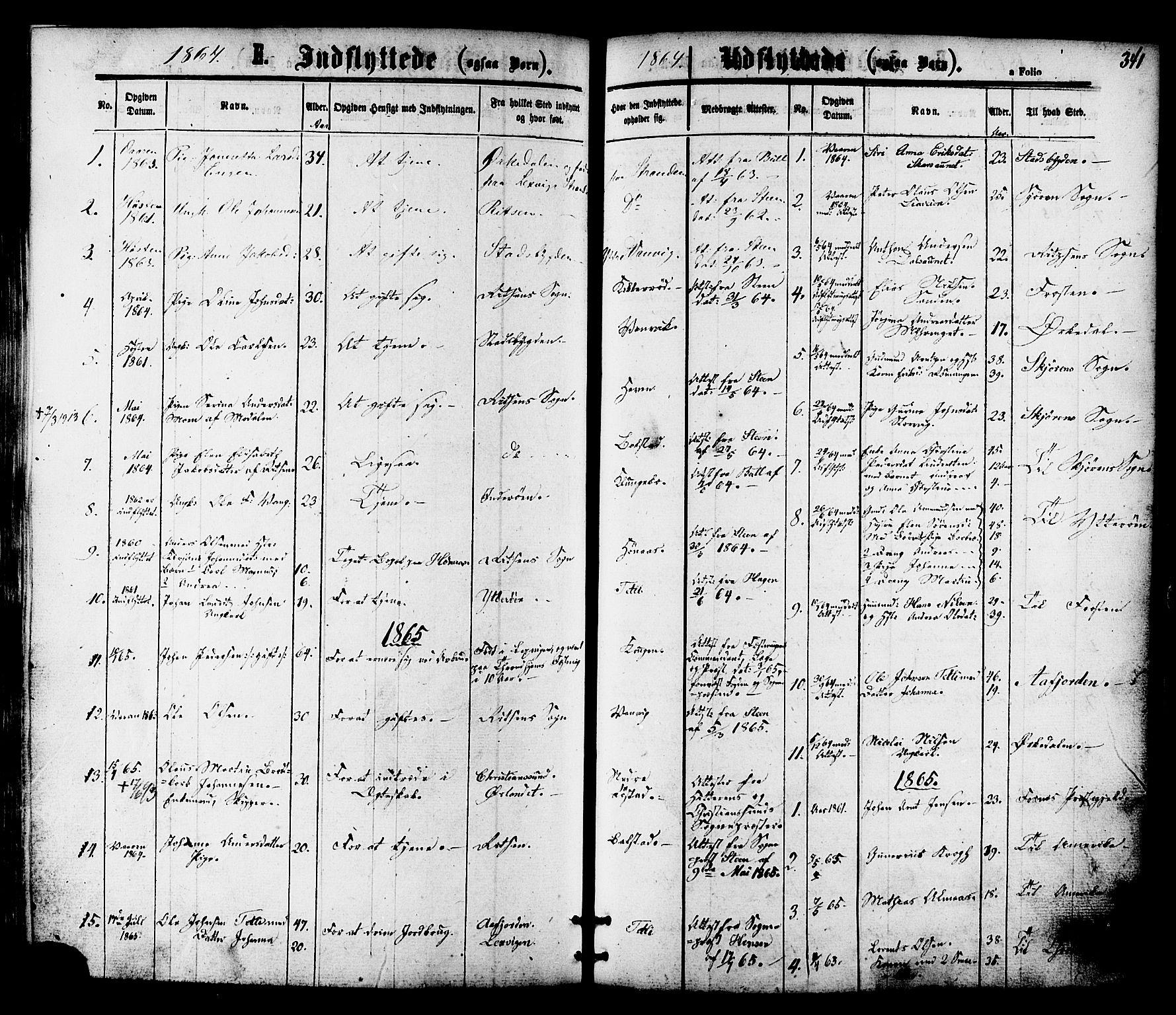 SAT, Ministerialprotokoller, klokkerbøker og fødselsregistre - Nord-Trøndelag, 701/L0009: Ministerialbok nr. 701A09 /1, 1864-1882, s. 341