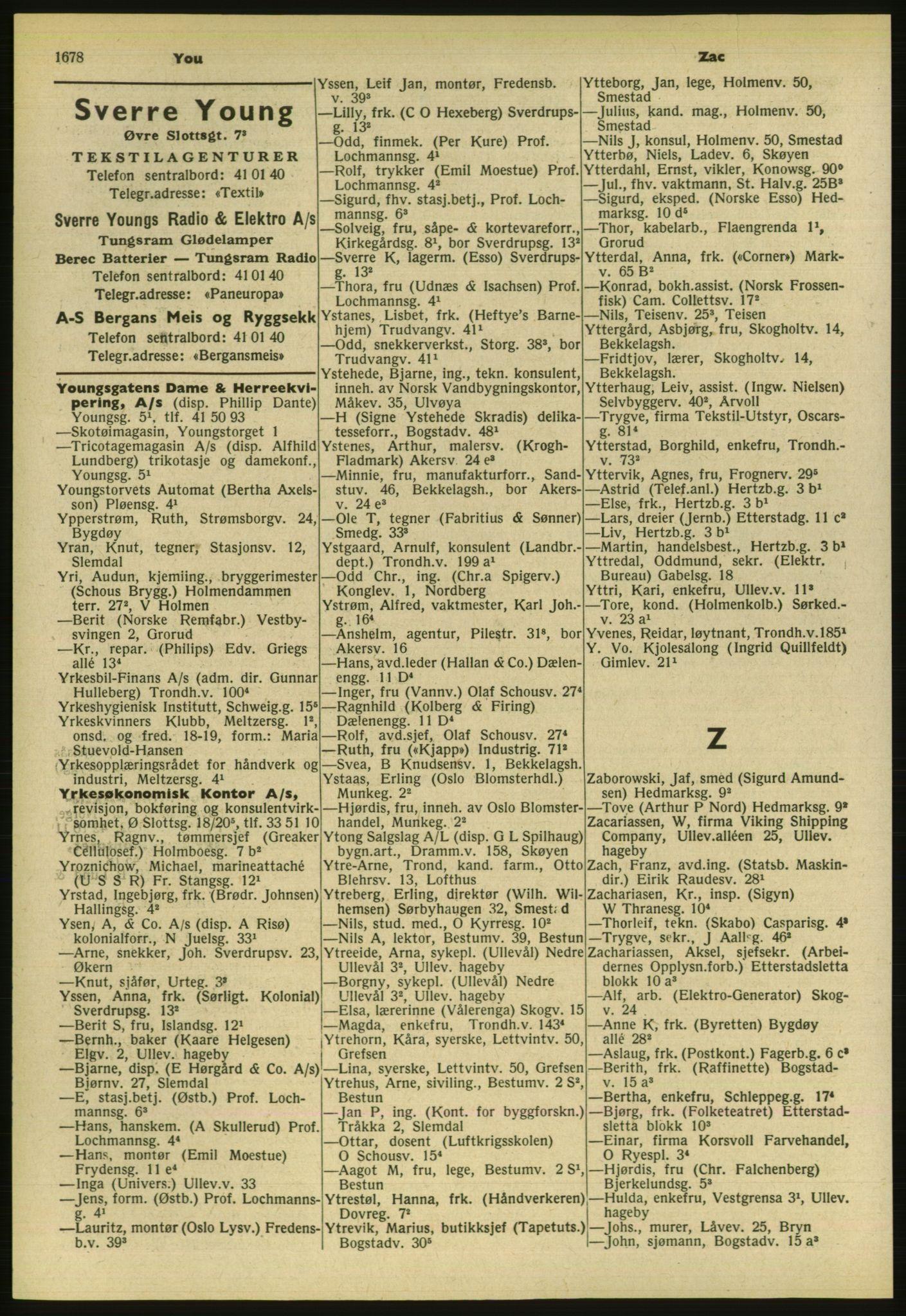 PUBL, Kristiania/Oslo adressebok, 1954, s. 1678