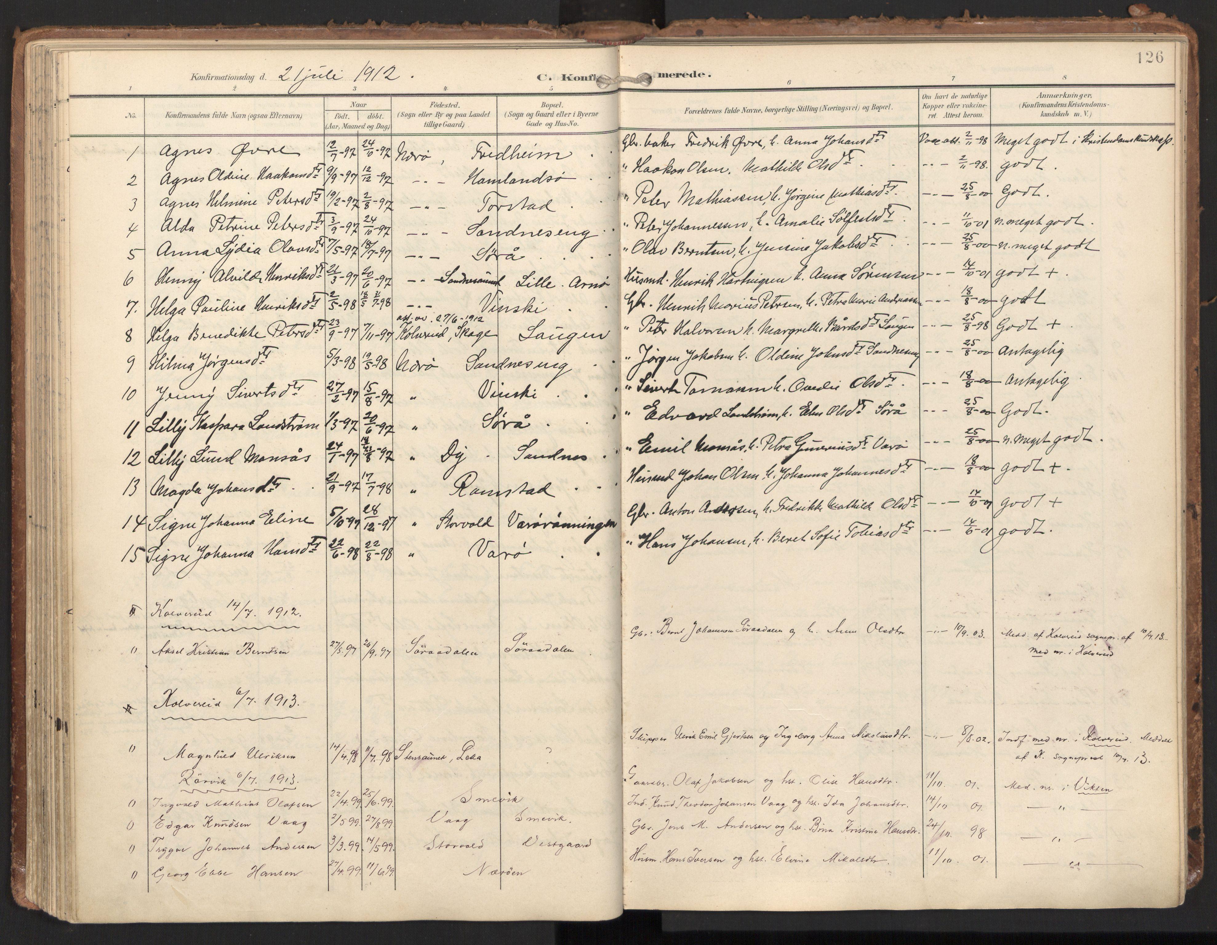 SAT, Ministerialprotokoller, klokkerbøker og fødselsregistre - Nord-Trøndelag, 784/L0677: Ministerialbok nr. 784A12, 1900-1920, s. 126
