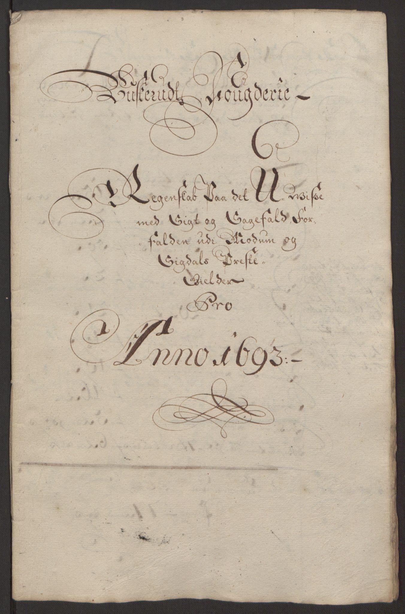 RA, Rentekammeret inntil 1814, Reviderte regnskaper, Fogderegnskap, R25/L1682: Fogderegnskap Buskerud, 1693, s. 12