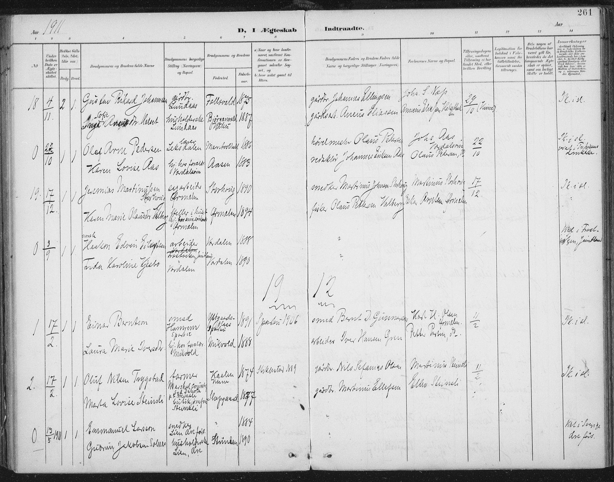 SAT, Ministerialprotokoller, klokkerbøker og fødselsregistre - Nord-Trøndelag, 723/L0246: Ministerialbok nr. 723A15, 1900-1917, s. 261