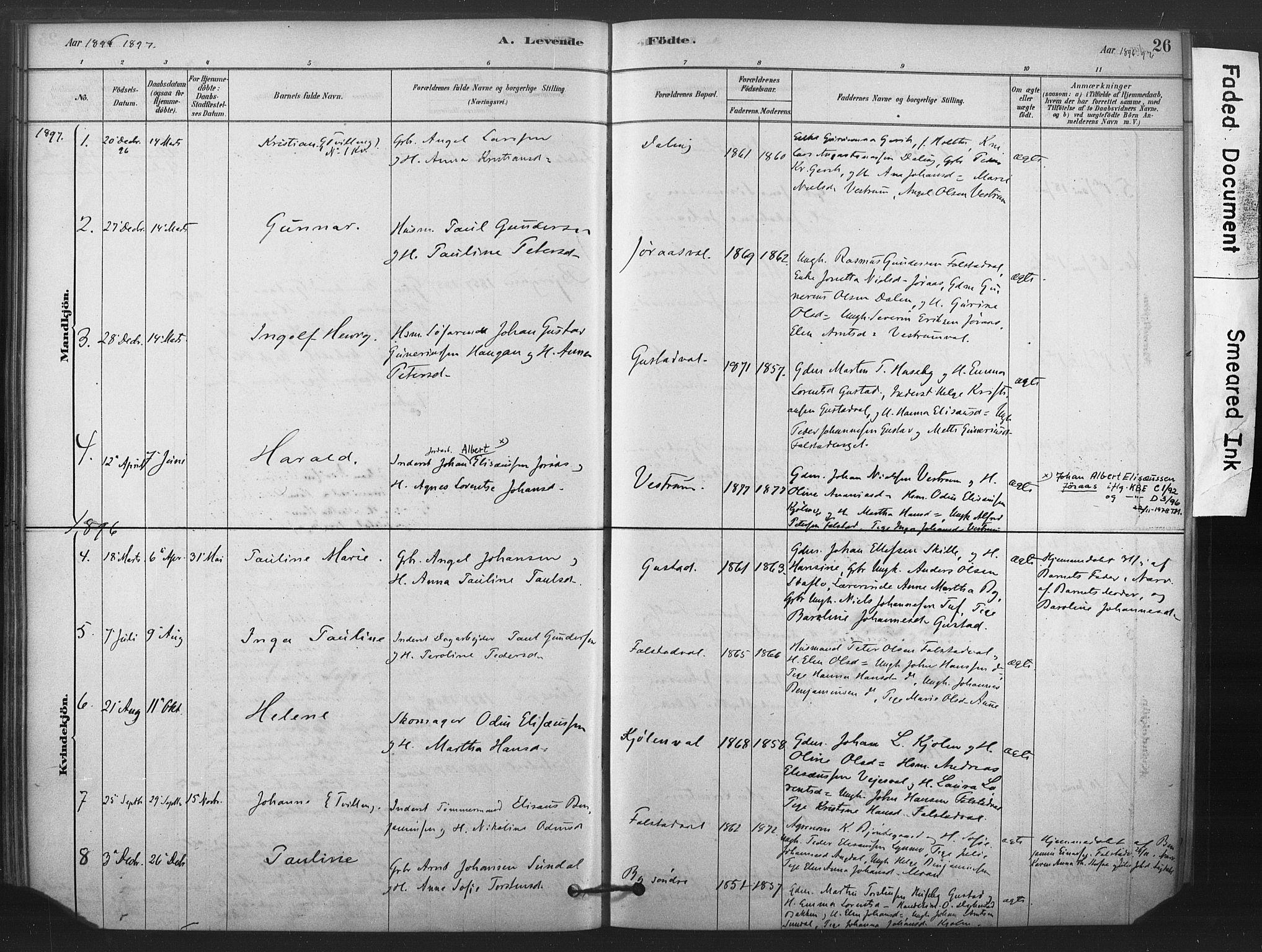 SAT, Ministerialprotokoller, klokkerbøker og fødselsregistre - Nord-Trøndelag, 719/L0178: Ministerialbok nr. 719A01, 1878-1900, s. 26