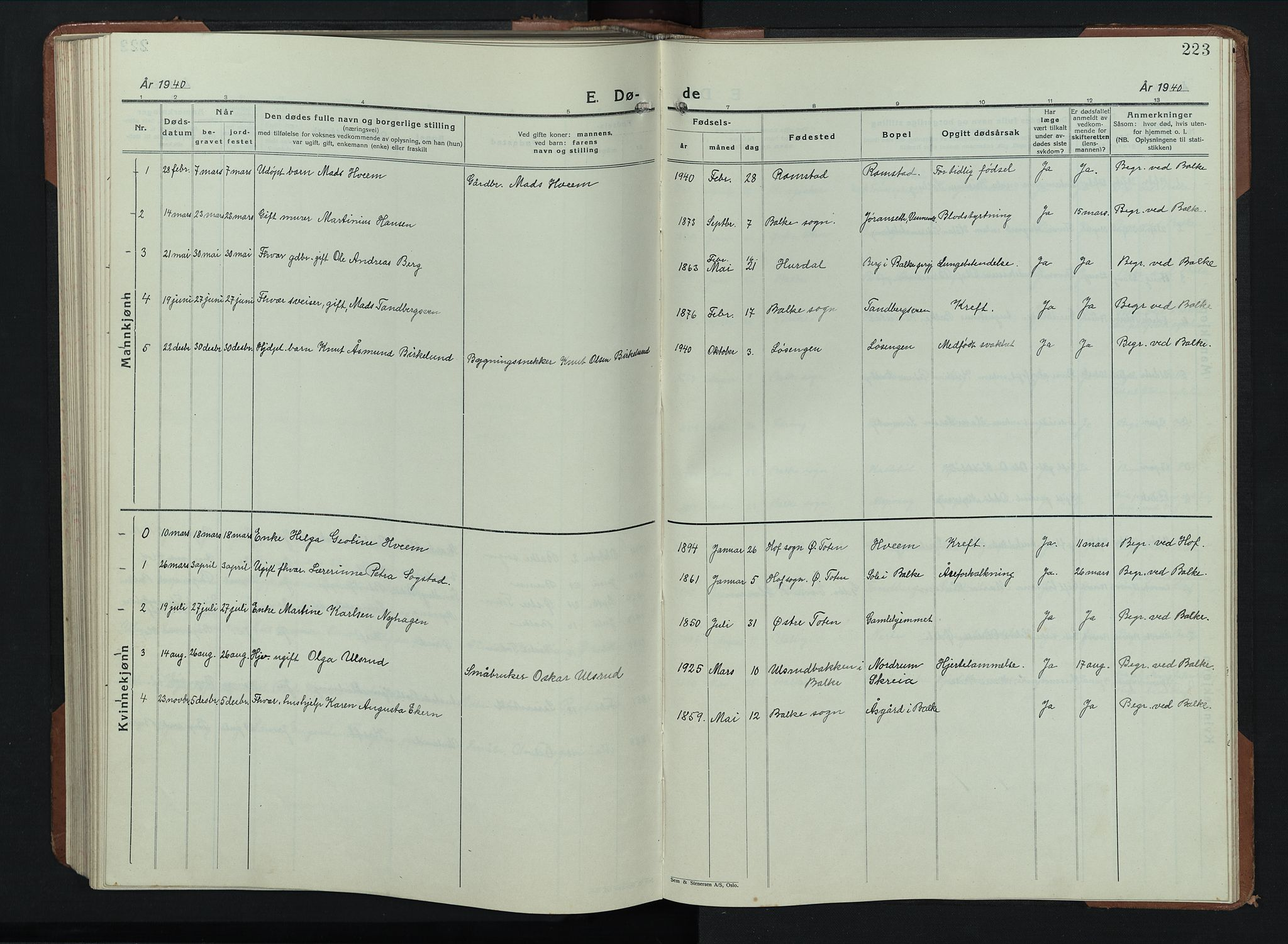 SAH, Balke prestekontor, Klokkerbok nr. 2, 1929-1951, s. 223