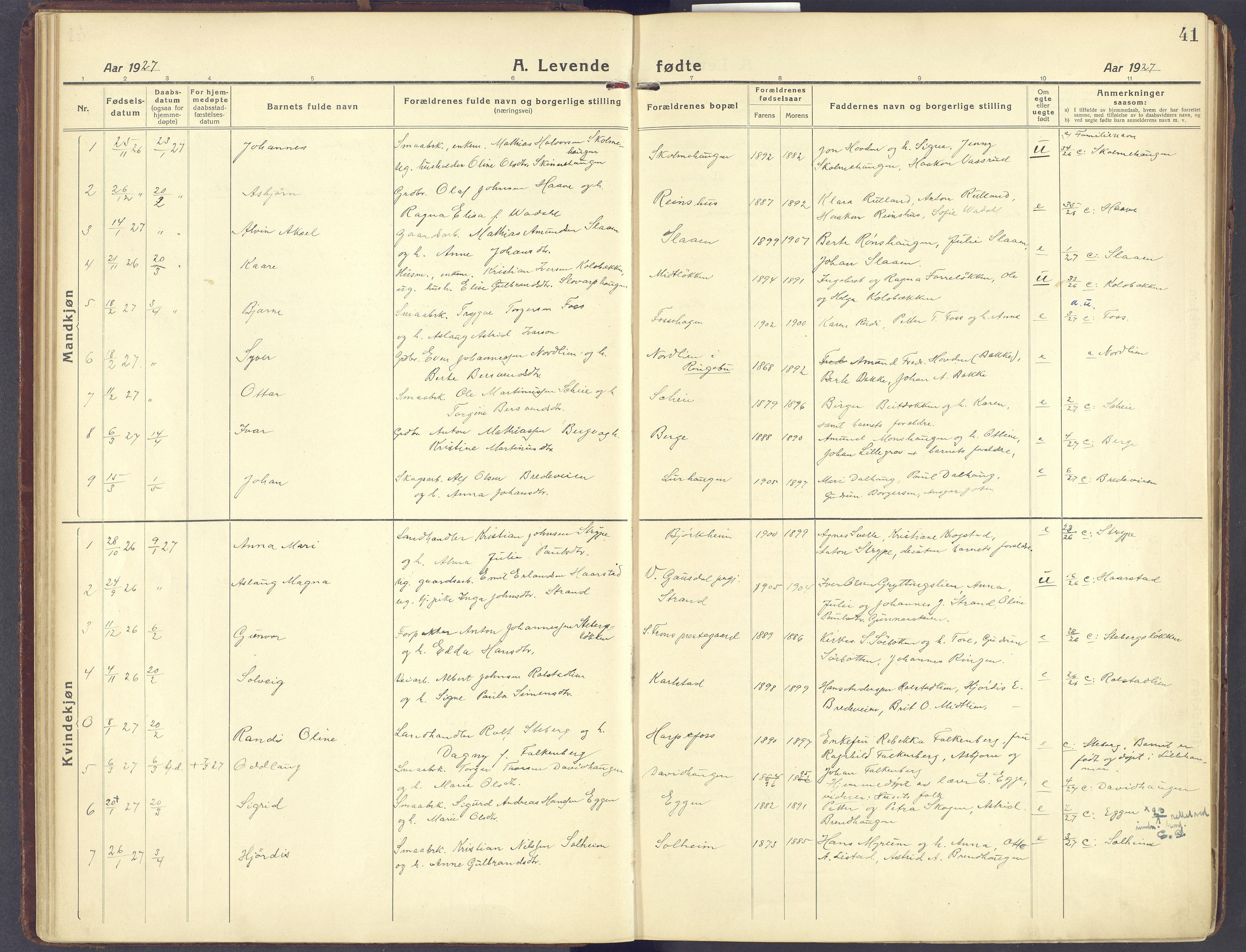 SAH, Sør-Fron prestekontor, H/Ha/Haa/L0005: Ministerialbok nr. 5, 1920-1933, s. 41