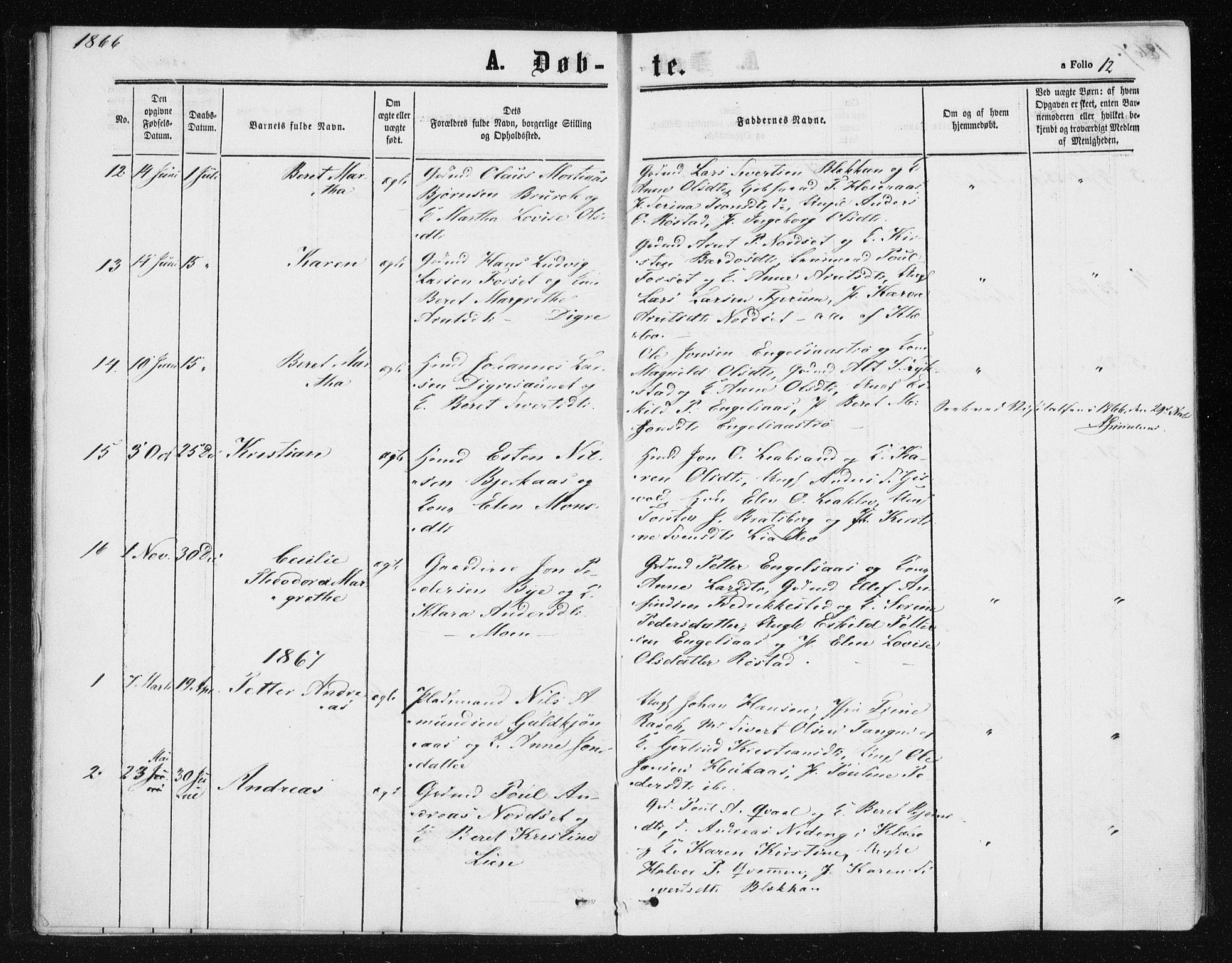SAT, Ministerialprotokoller, klokkerbøker og fødselsregistre - Sør-Trøndelag, 608/L0333: Ministerialbok nr. 608A02, 1862-1876, s. 12