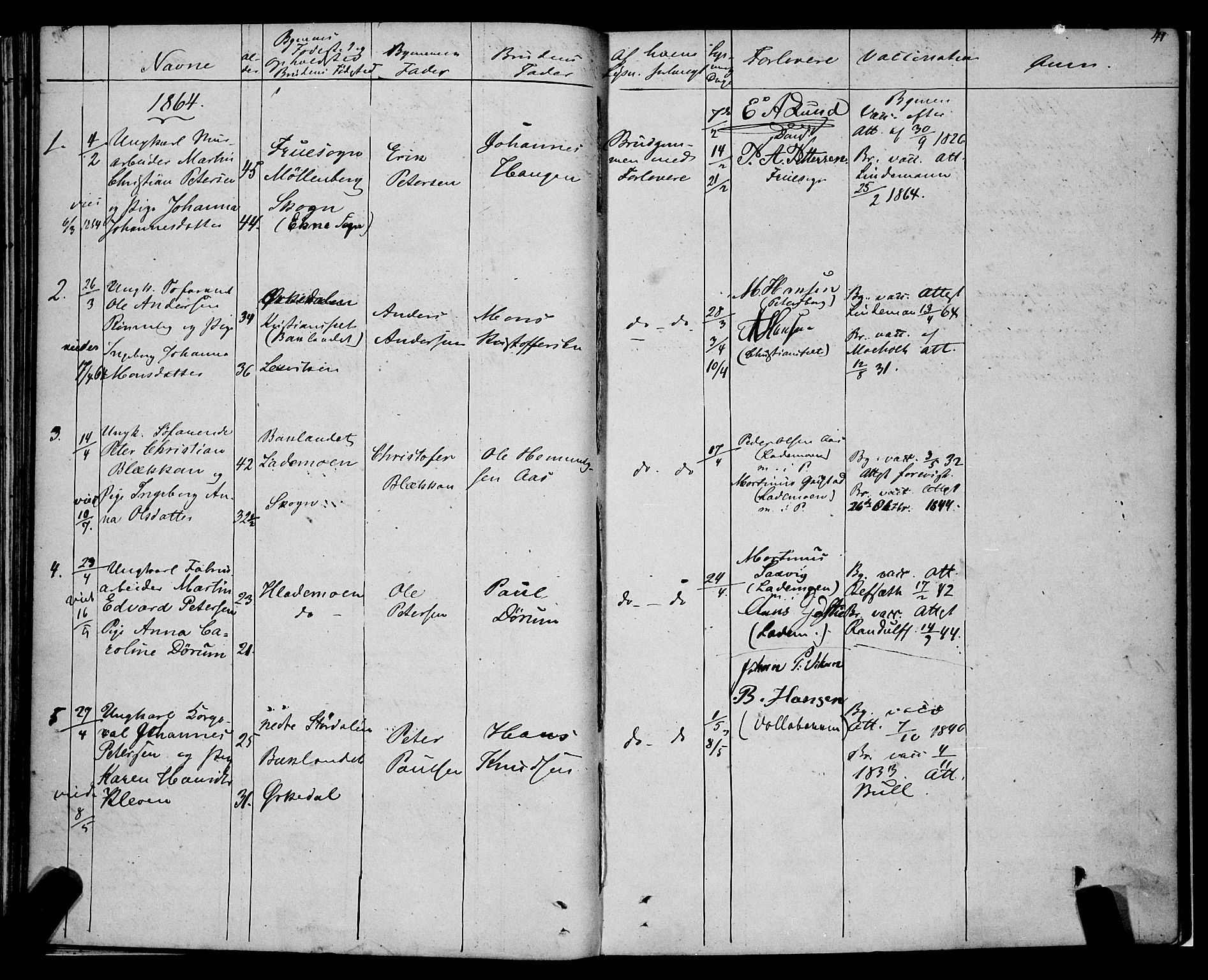 SAT, Ministerialprotokoller, klokkerbøker og fødselsregistre - Sør-Trøndelag, 604/L0187: Ministerialbok nr. 604A08, 1847-1878, s. 41