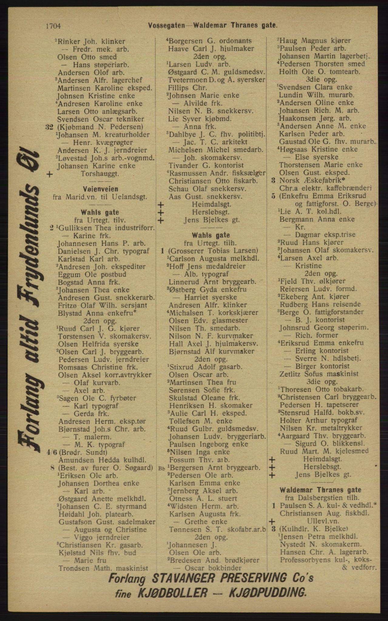 RA, Kristiania adressebok (publikasjon)*, 1913, s. 1704
