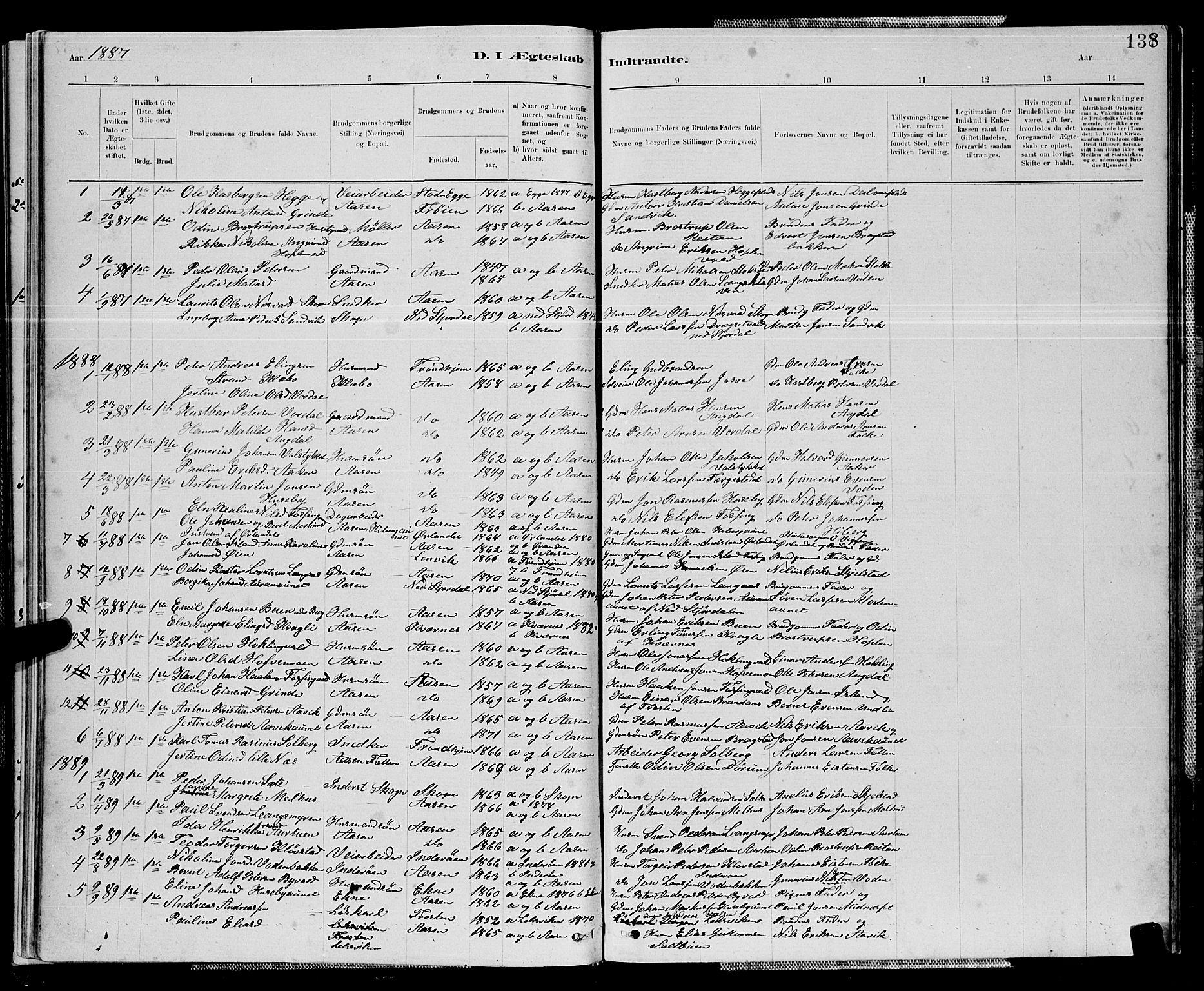 SAT, Ministerialprotokoller, klokkerbøker og fødselsregistre - Nord-Trøndelag, 714/L0134: Klokkerbok nr. 714C03, 1878-1898, s. 138