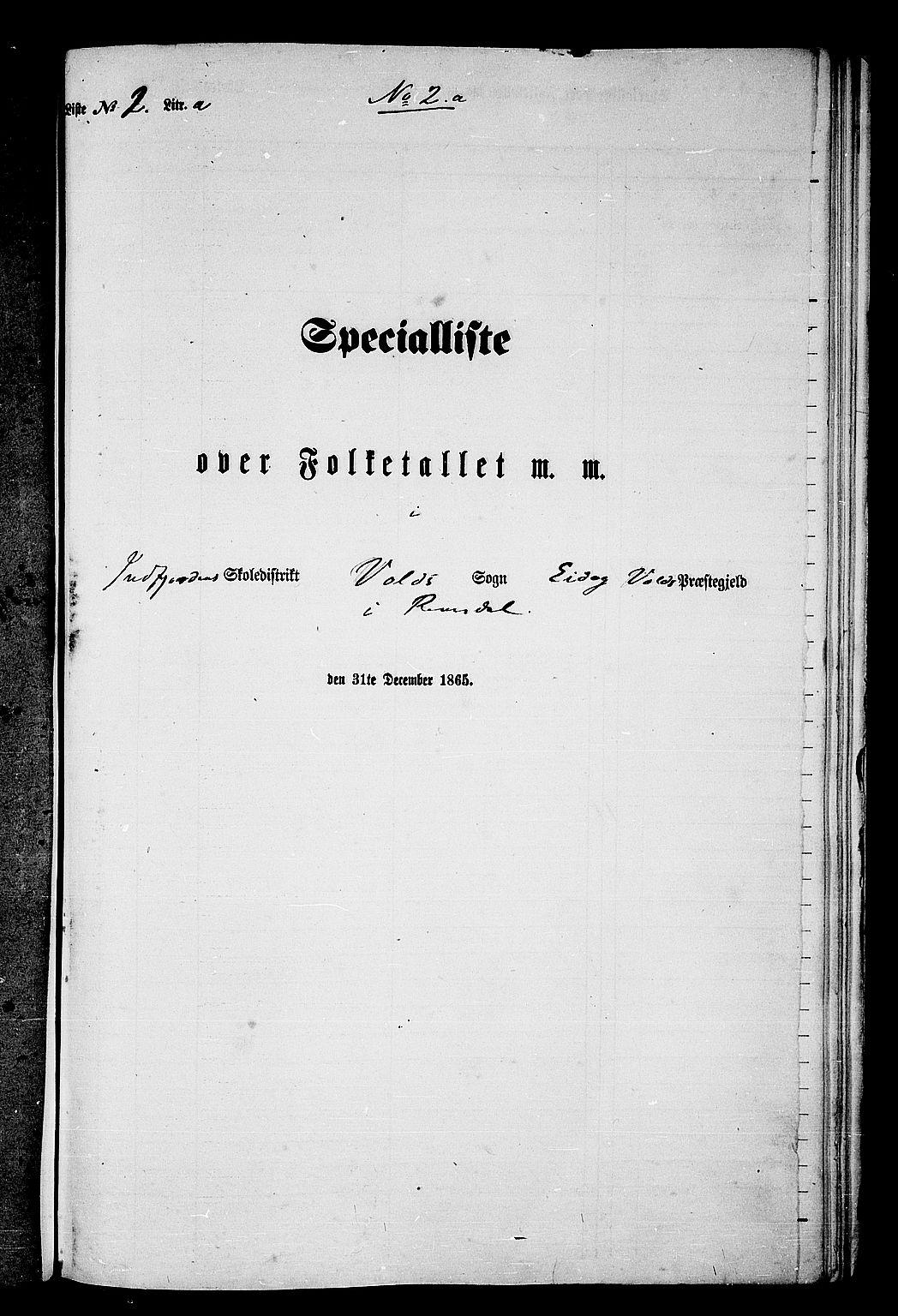 RA, Folketelling 1865 for 1537P Eid og Vold prestegjeld, 1865, s. 31