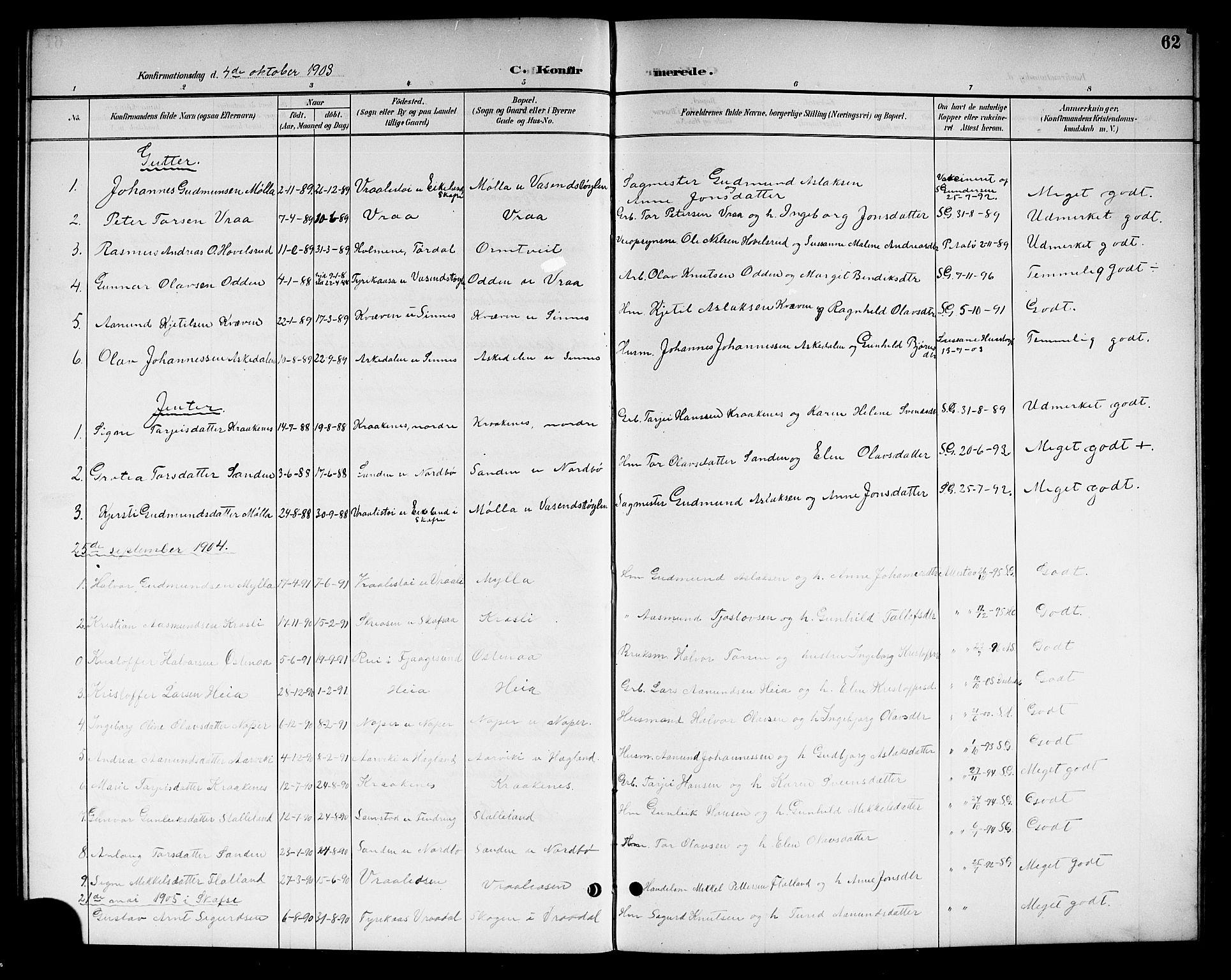 SAKO, Kviteseid kirkebøker, G/Gc/L0001: Klokkerbok nr. III 1, 1893-1916, s. 62