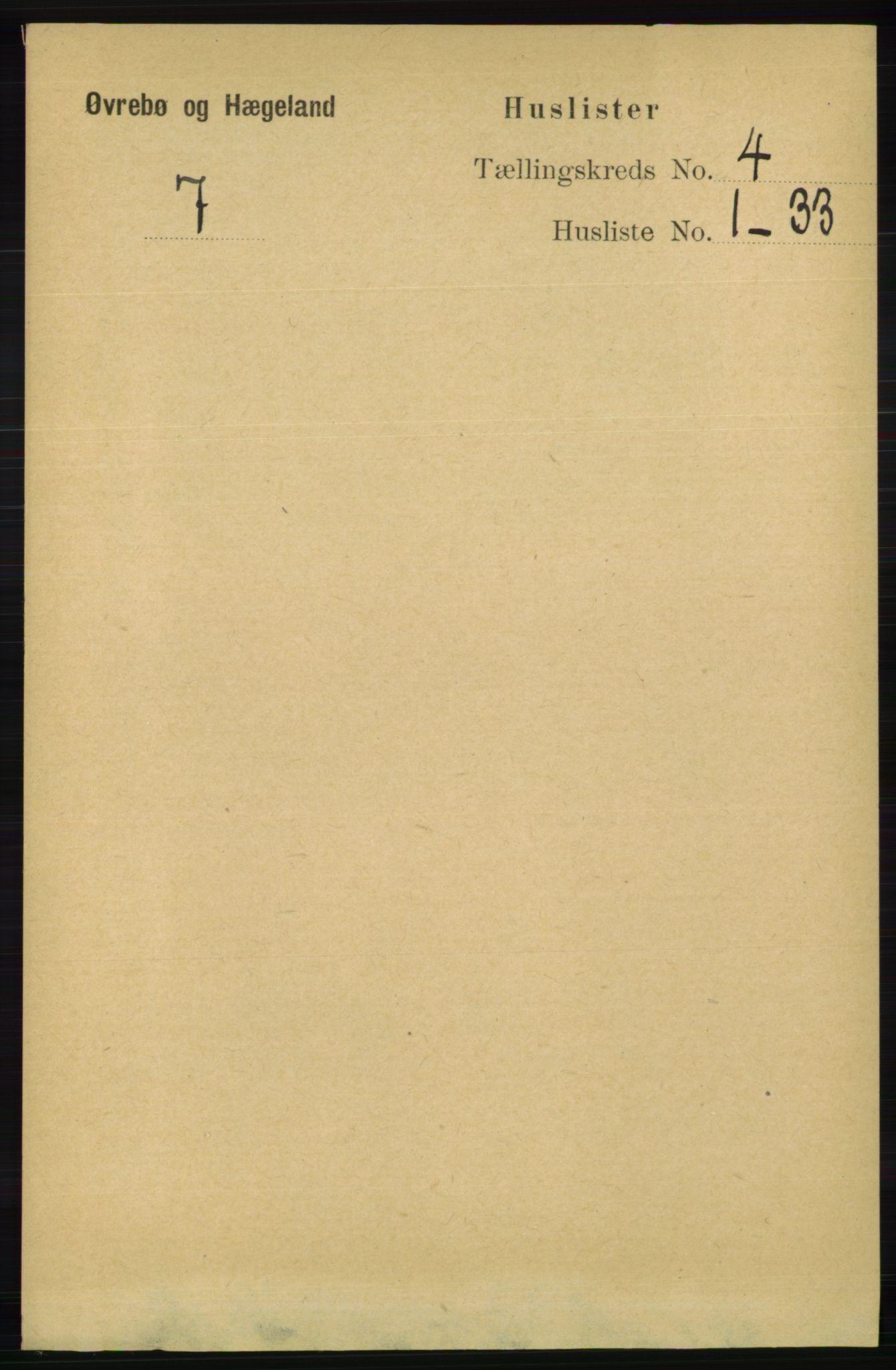 RA, Folketelling 1891 for 1016 Øvrebø og Hægeland herred, 1891, s. 647