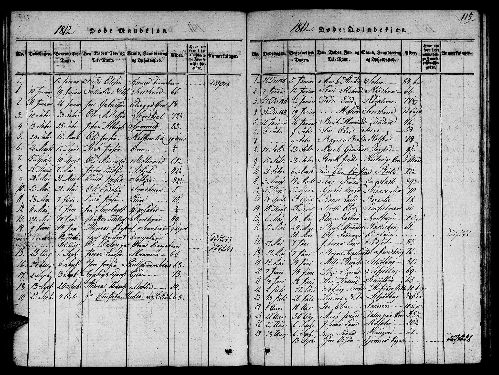 SAT, Ministerialprotokoller, klokkerbøker og fødselsregistre - Sør-Trøndelag, 668/L0803: Ministerialbok nr. 668A03, 1800-1826, s. 115