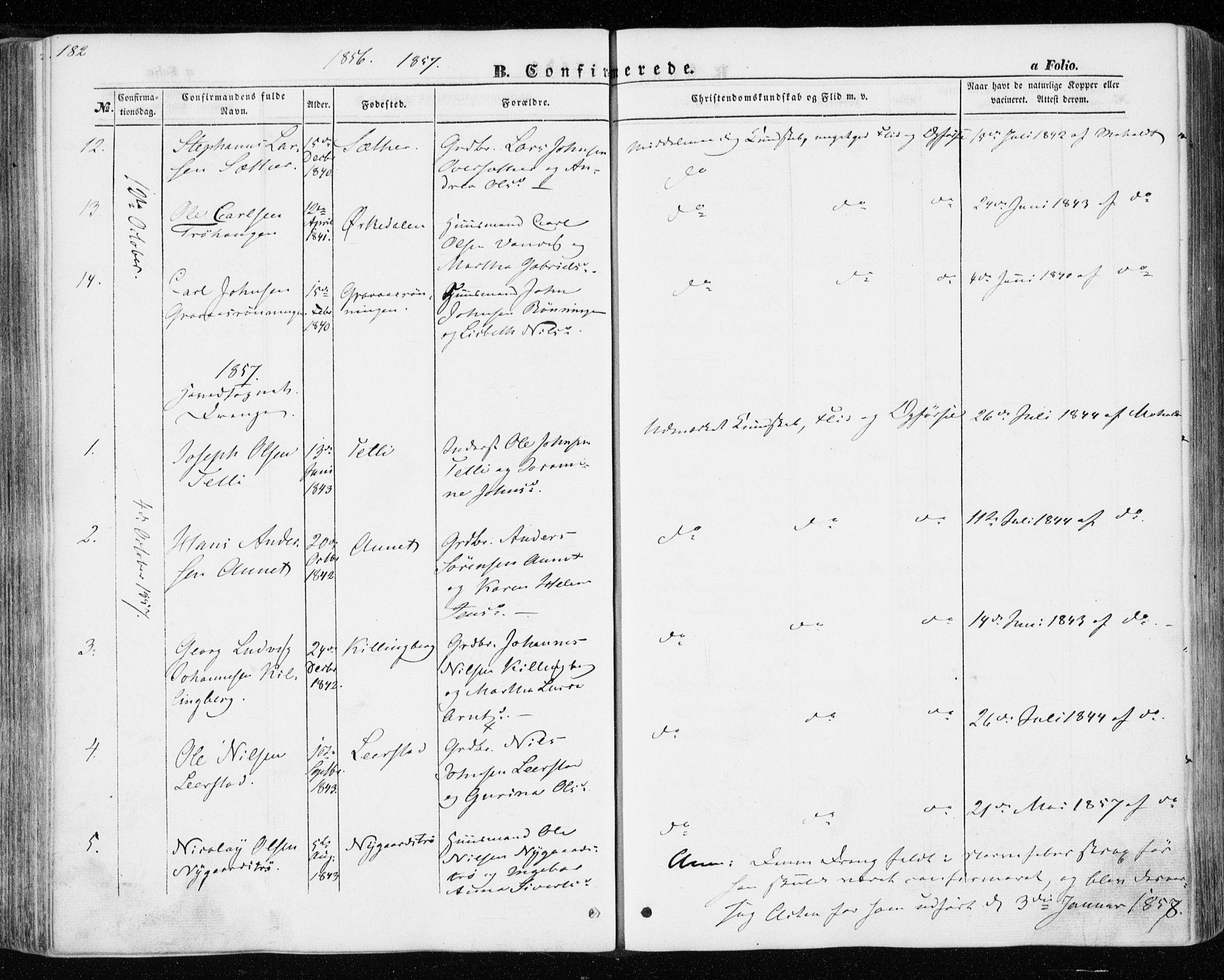 SAT, Ministerialprotokoller, klokkerbøker og fødselsregistre - Nord-Trøndelag, 701/L0008: Ministerialbok nr. 701A08 /1, 1854-1863, s. 182