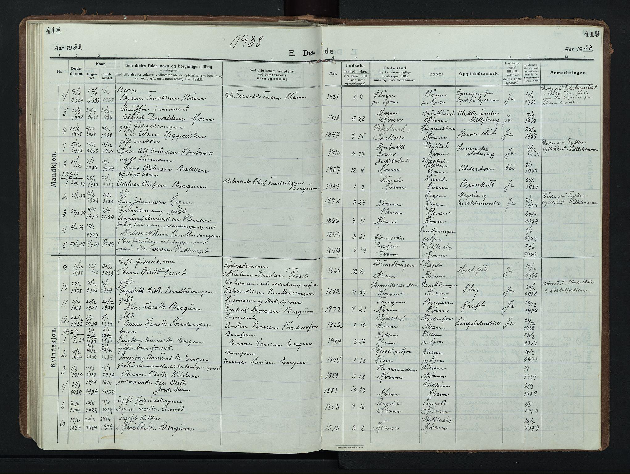 SAH, Nord-Fron prestekontor, Klokkerbok nr. 8, 1915-1948, s. 418-419