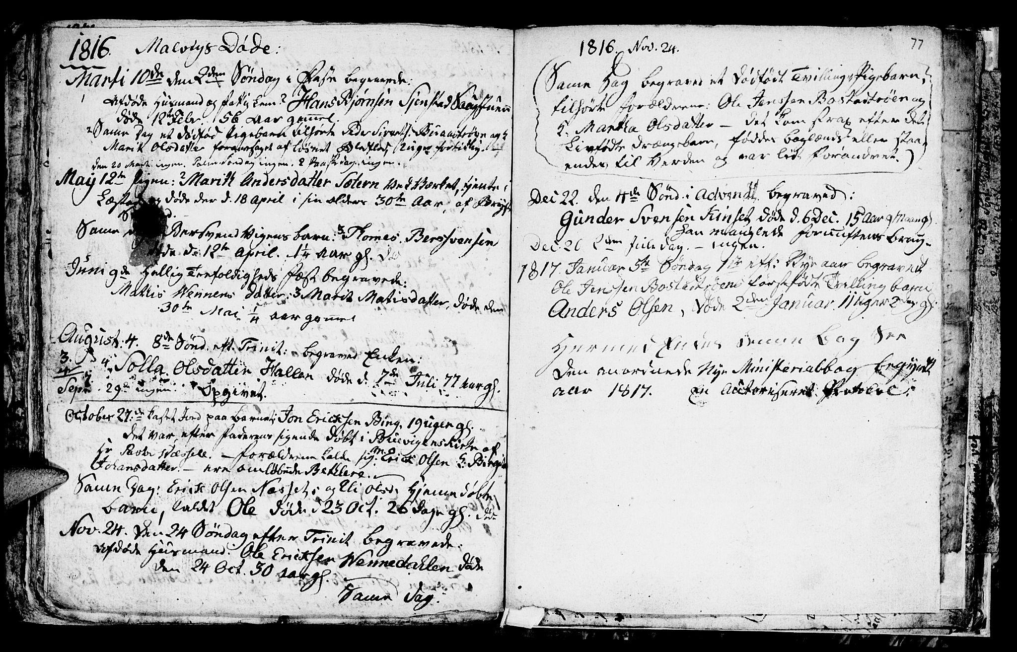 SAT, Ministerialprotokoller, klokkerbøker og fødselsregistre - Sør-Trøndelag, 616/L0419: Klokkerbok nr. 616C02, 1797-1816, s. 77