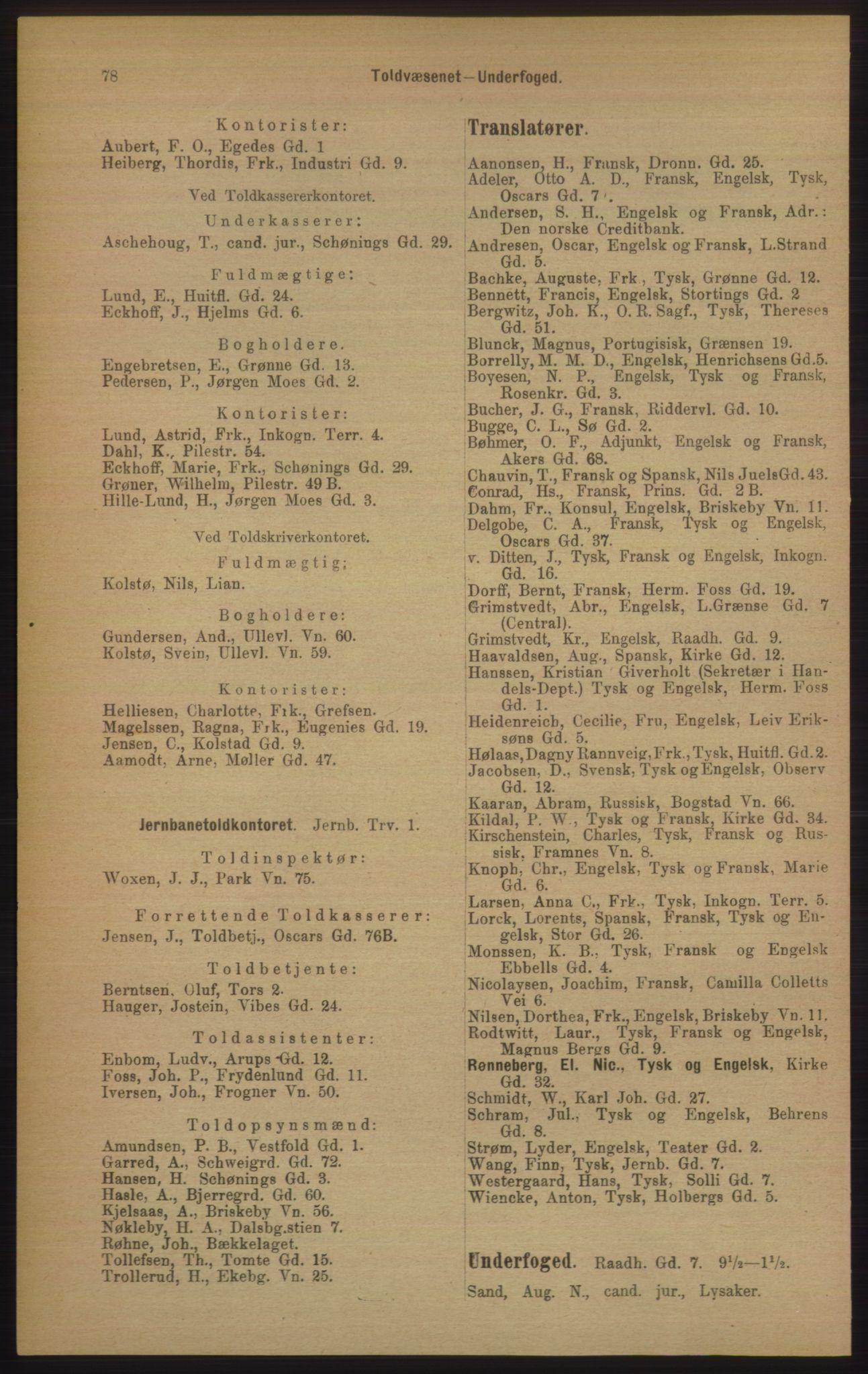 RA, Kristiania adressebok (publikasjon)*, 1906, s. 78