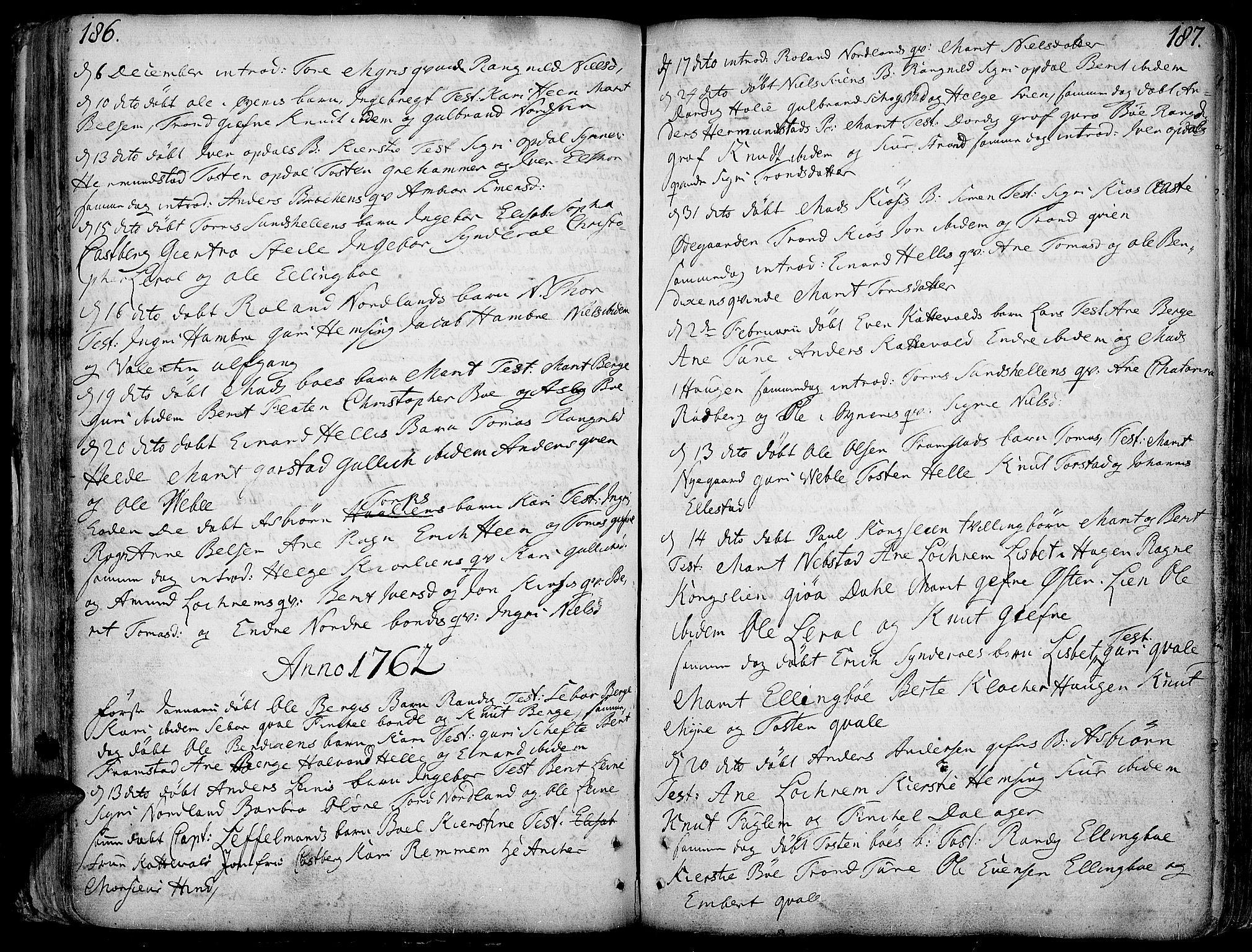 SAH, Vang prestekontor, Valdres, Ministerialbok nr. 1, 1730-1796, s. 186-187