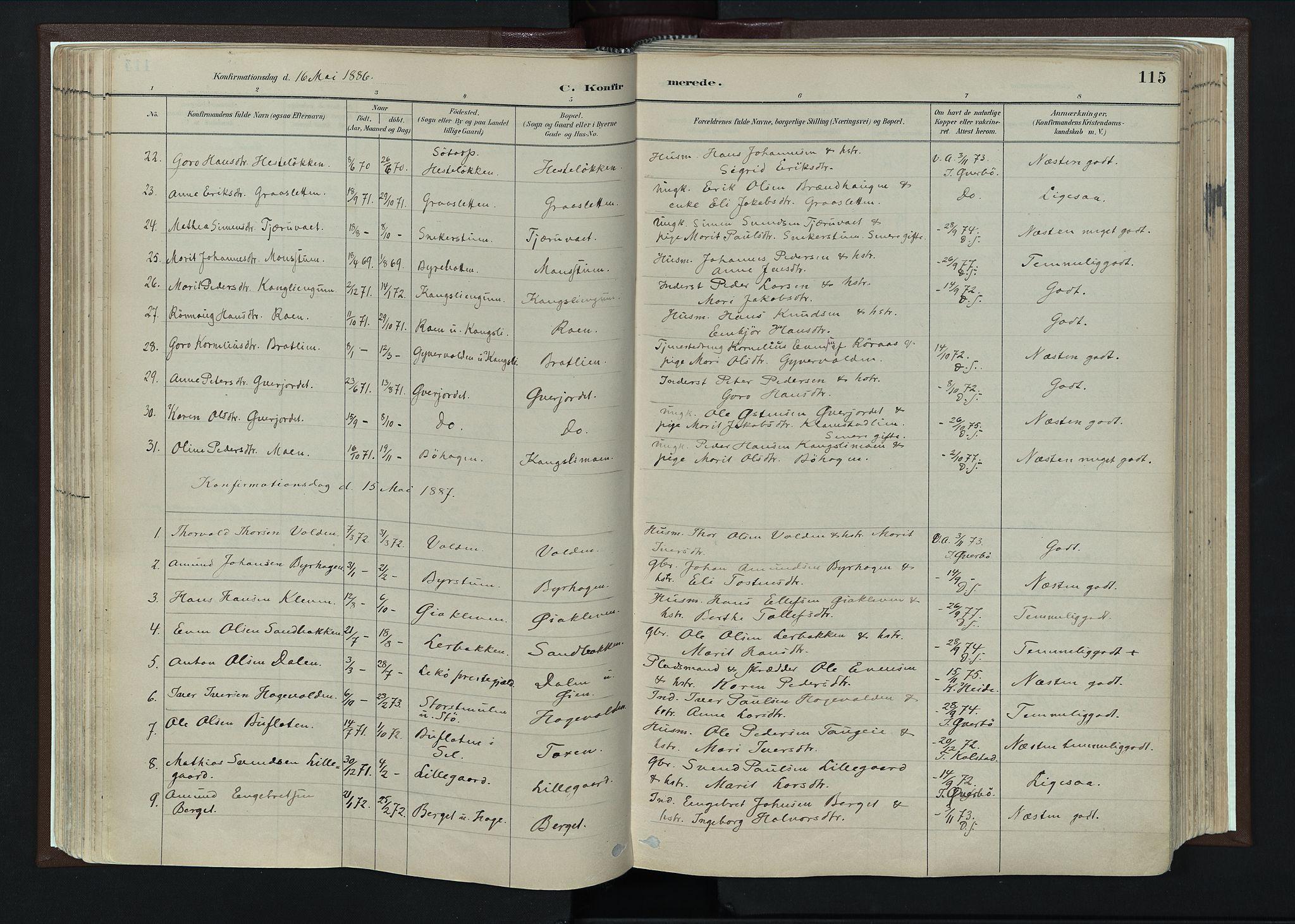 SAH, Nord-Fron prestekontor, Ministerialbok nr. 4, 1884-1914, s. 115