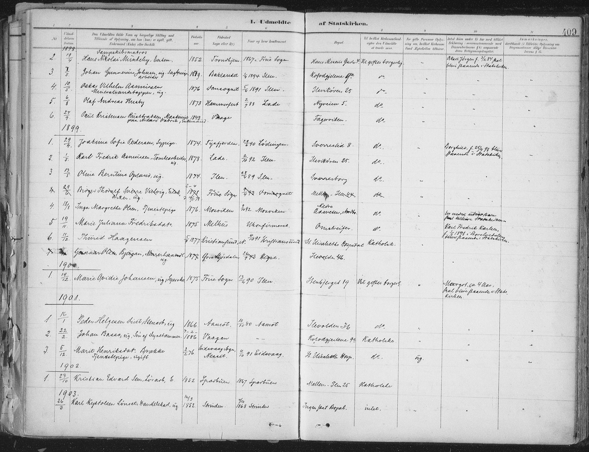 SAT, Ministerialprotokoller, klokkerbøker og fødselsregistre - Sør-Trøndelag, 603/L0167: Ministerialbok nr. 603A06, 1896-1932, s. 409