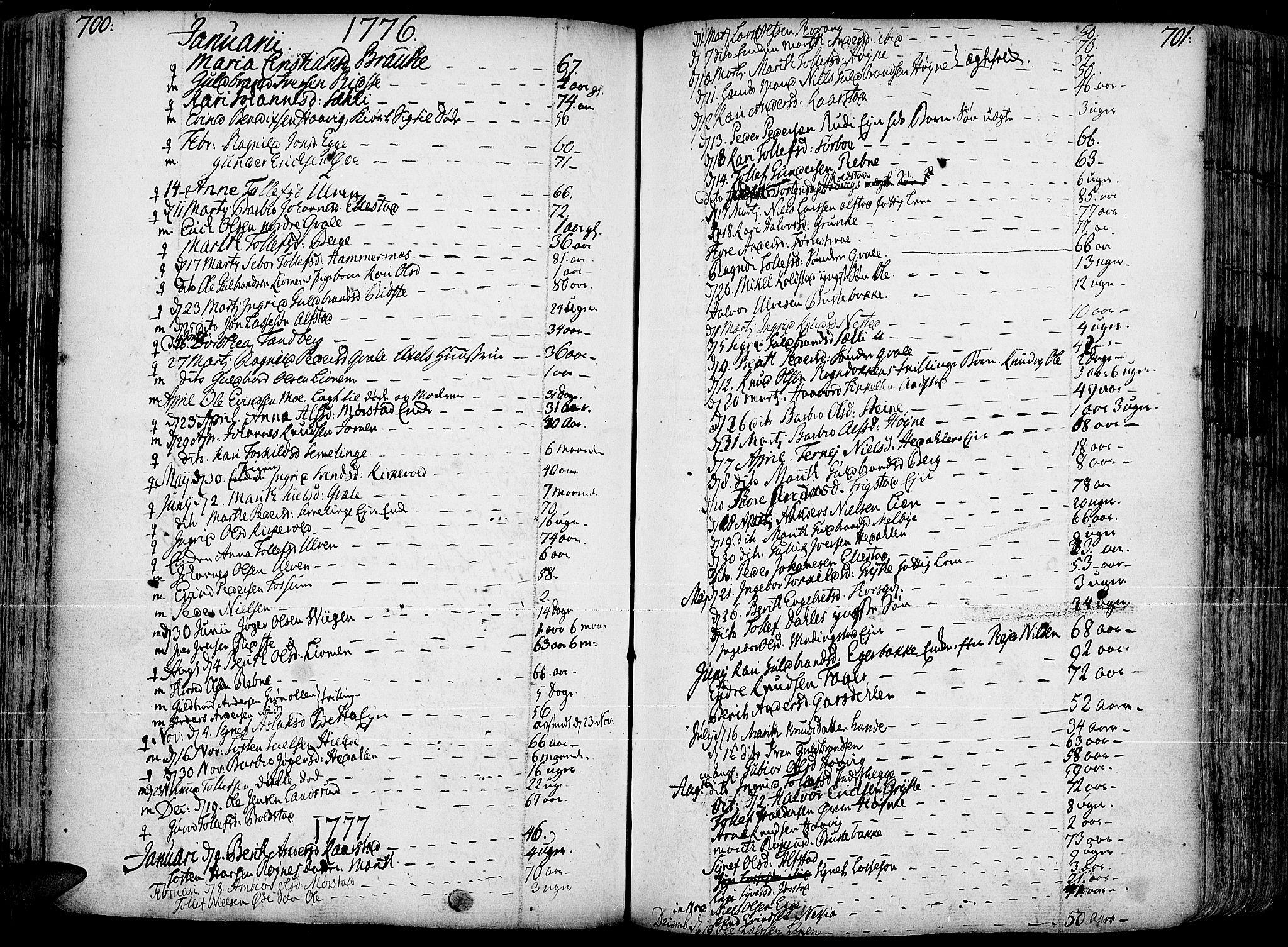 SAH, Slidre prestekontor, Ministerialbok nr. 1, 1724-1814, s. 700-701