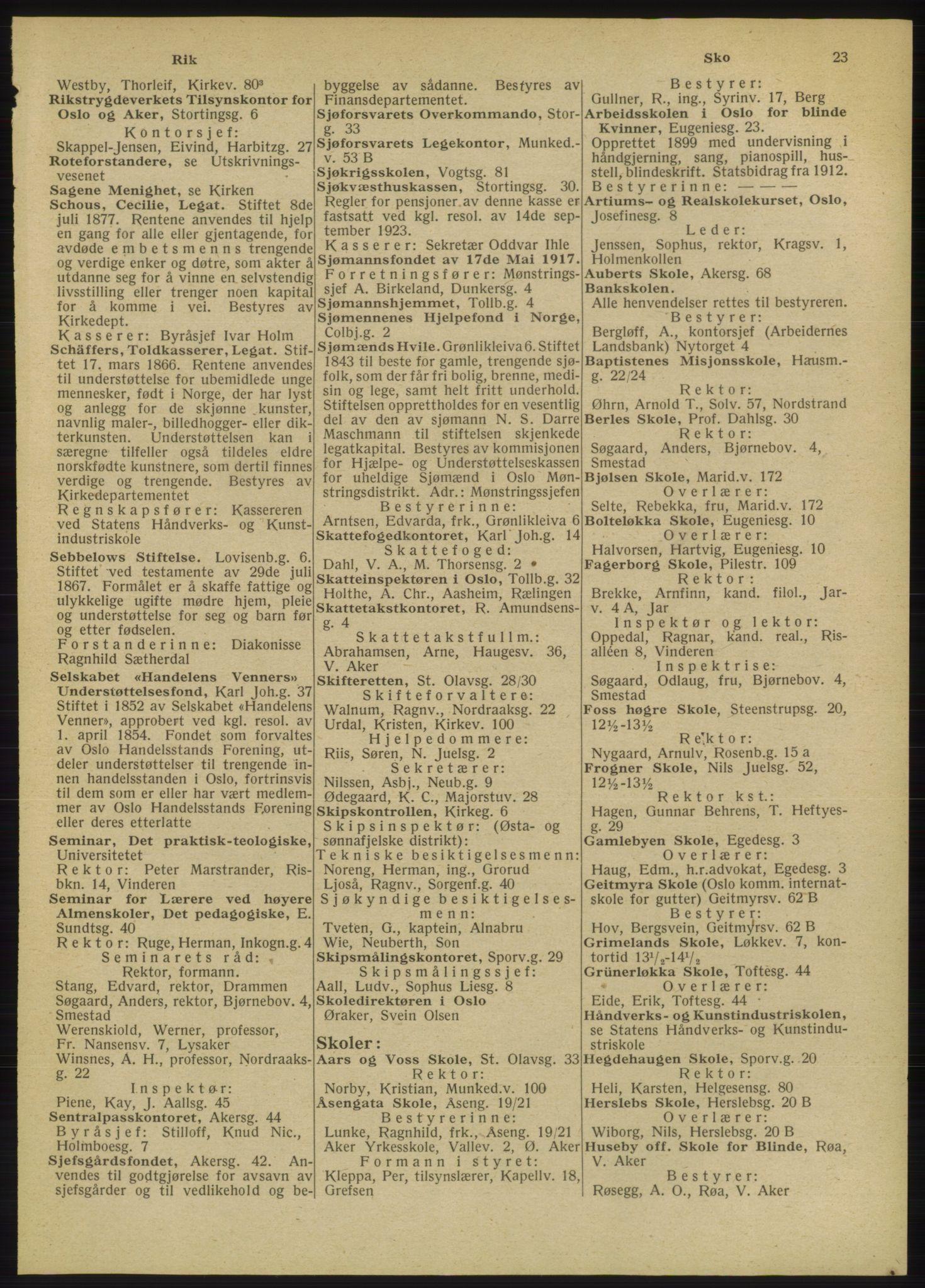 RA, Oslo adressebok (publikasjon)*, 1947, s. 23