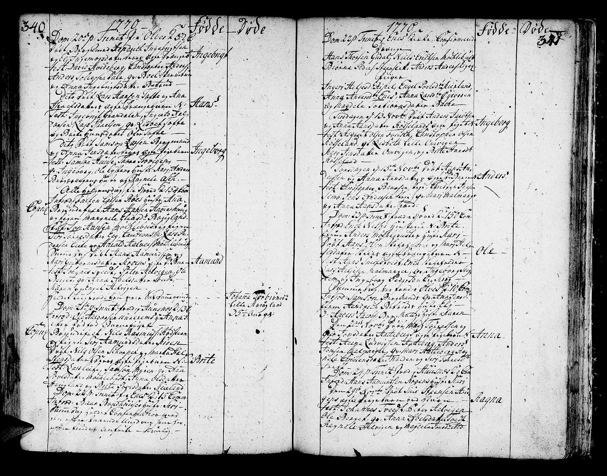 SAB, Kvinnherad Sokneprestembete, H/Haa: Ministerialbok nr. A 3, 1754-1777, s. 340-341