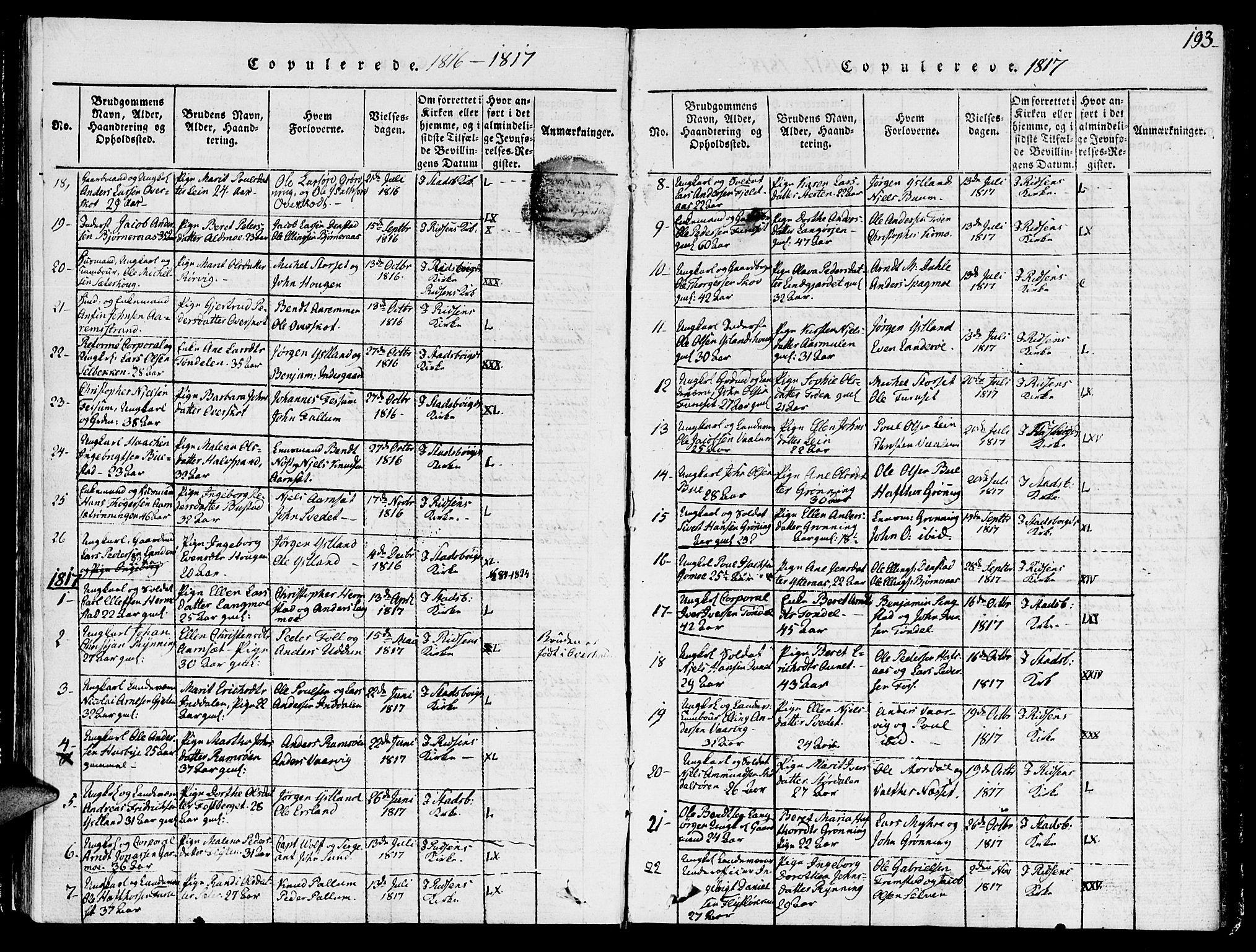 SAT, Ministerialprotokoller, klokkerbøker og fødselsregistre - Sør-Trøndelag, 646/L0608: Ministerialbok nr. 646A06, 1816-1825, s. 193